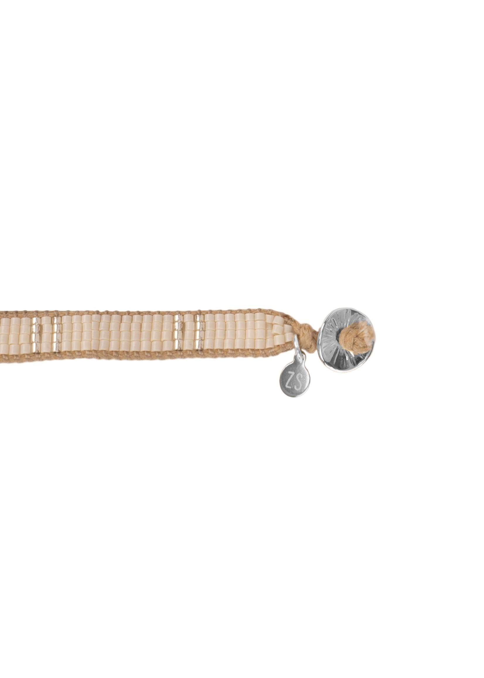 ZUSSS breed kralenarmbandje creme/zilver