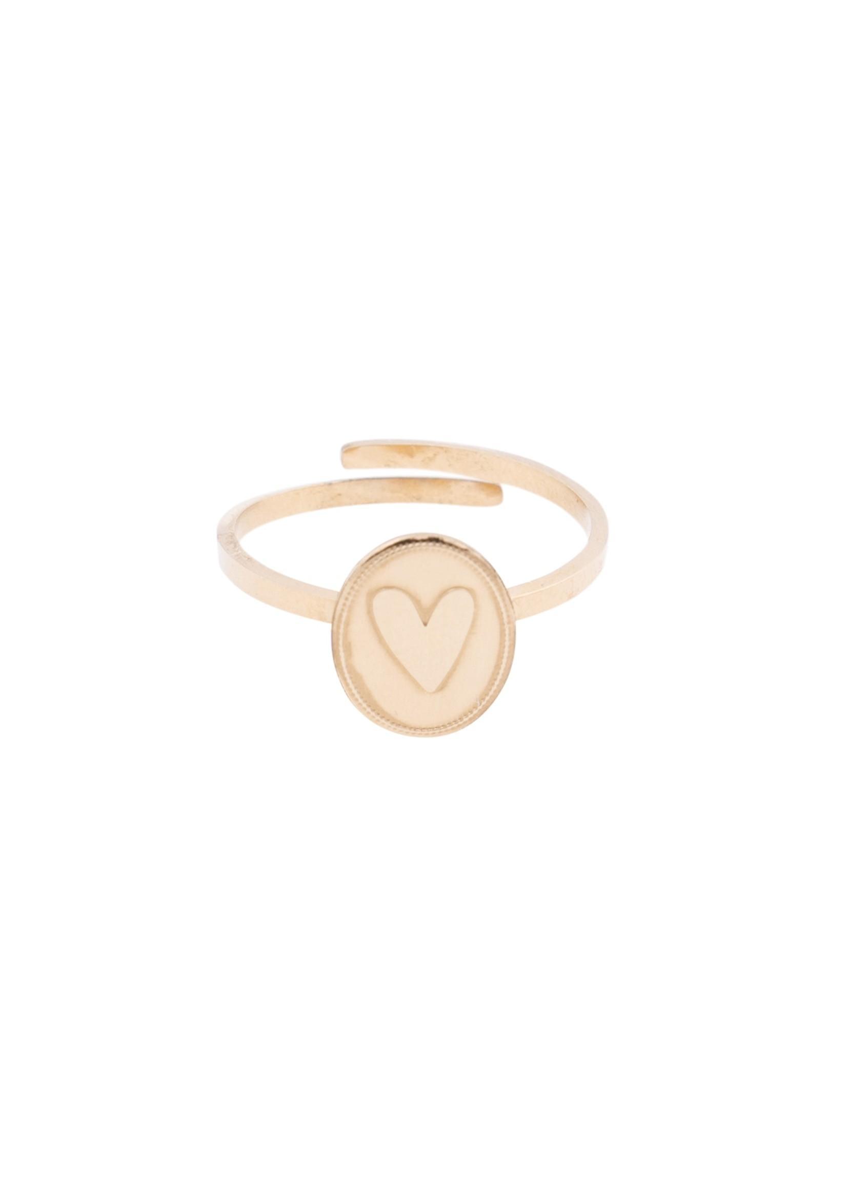 ZUSSS ring ovaal met hartje goud