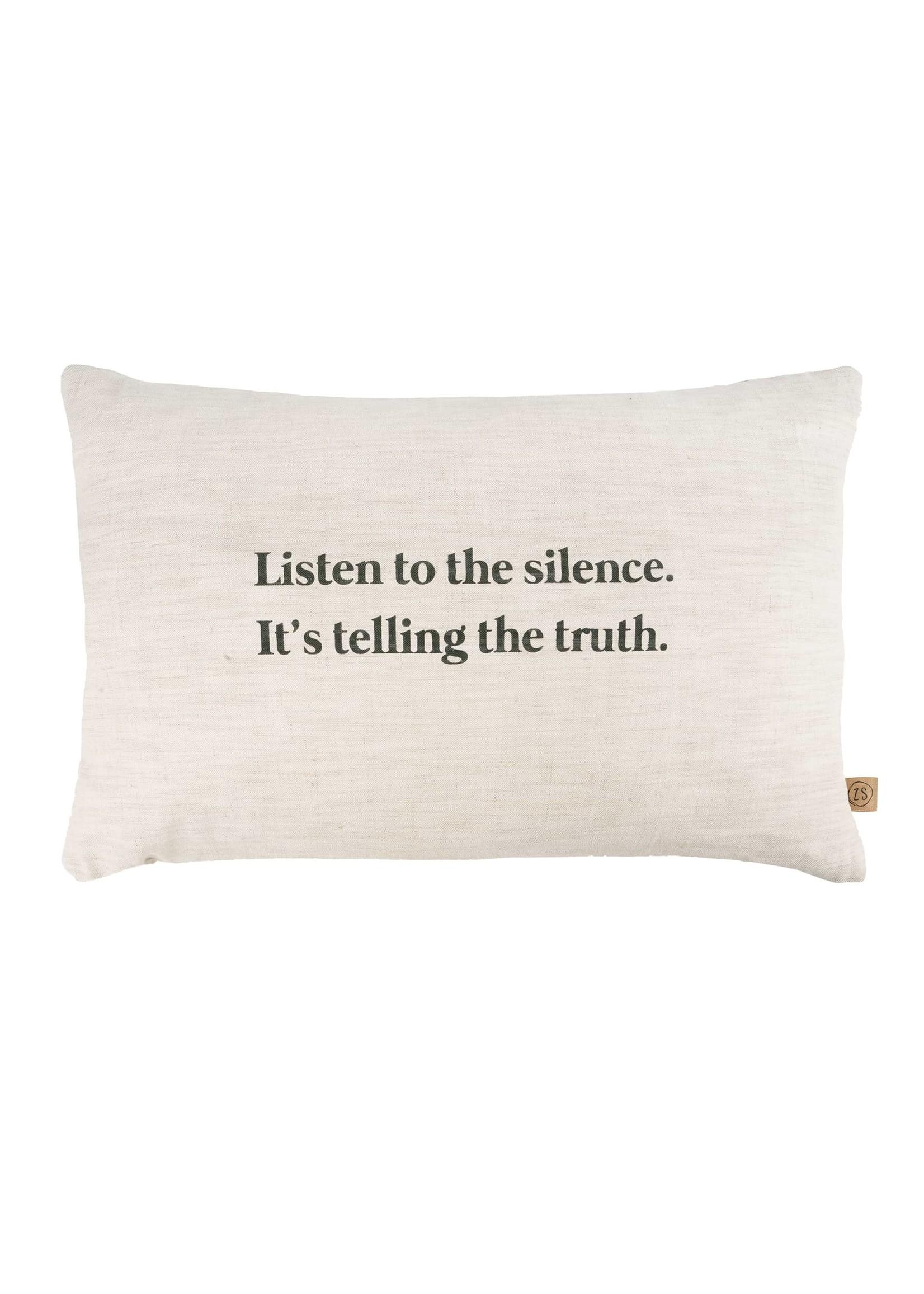 ZUSSS kussen listen to the silence 60x40cm peper en zout
