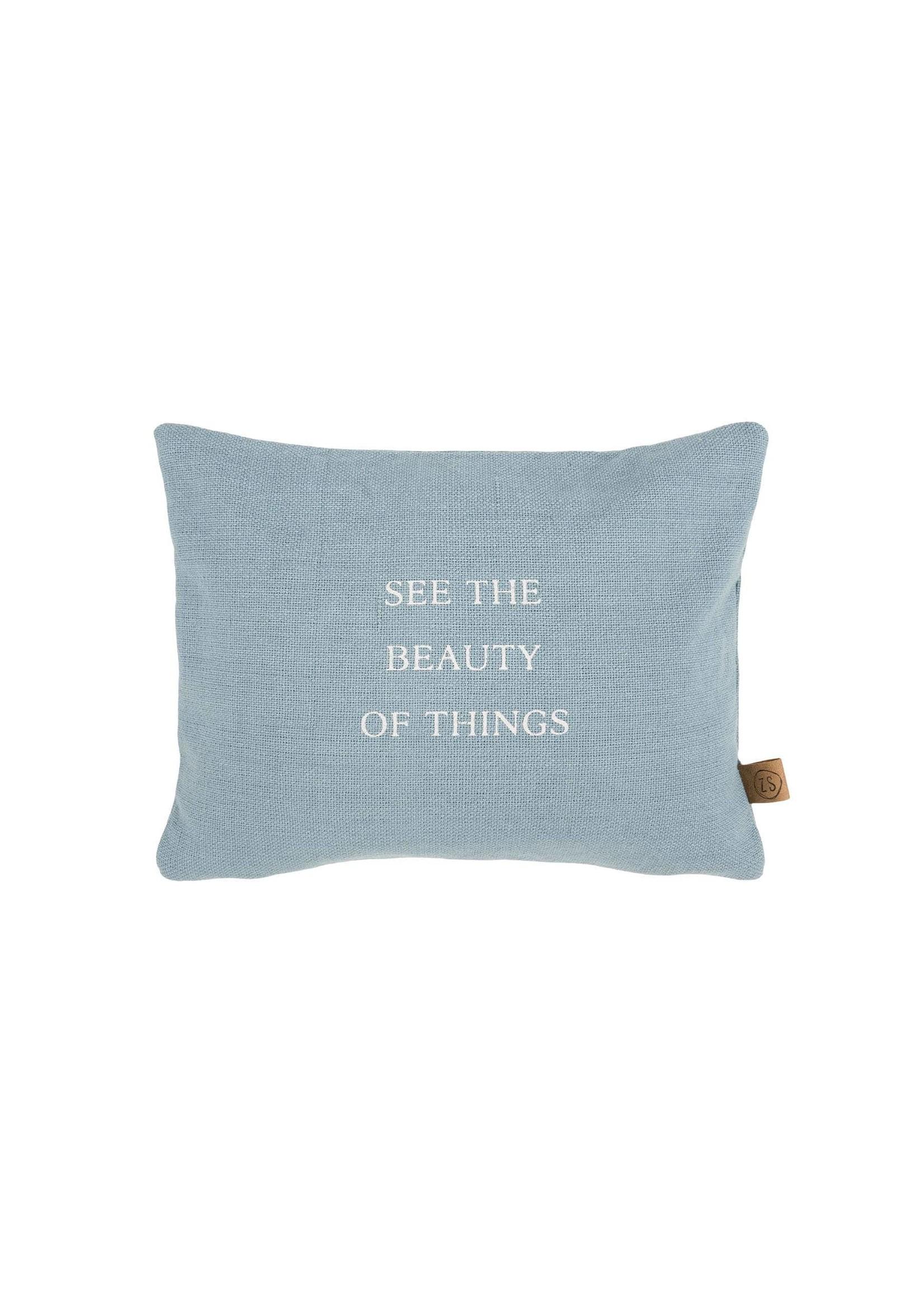 ZUSSS kussen beauty of things 35x25cm grijs-blauw
