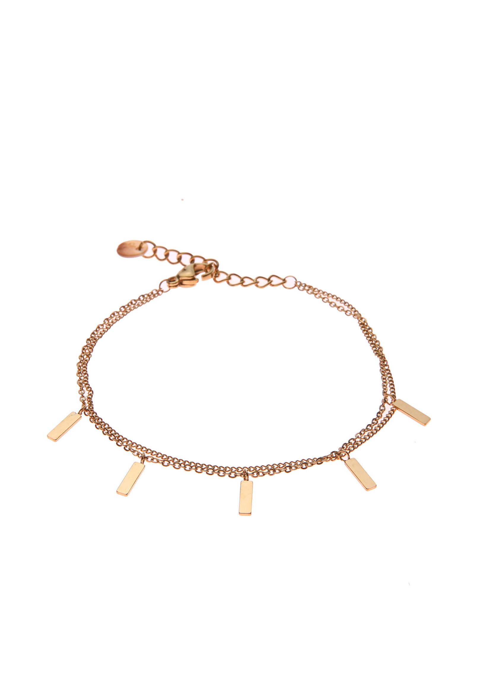 Armband goud dubbel met staafjes B0758-2