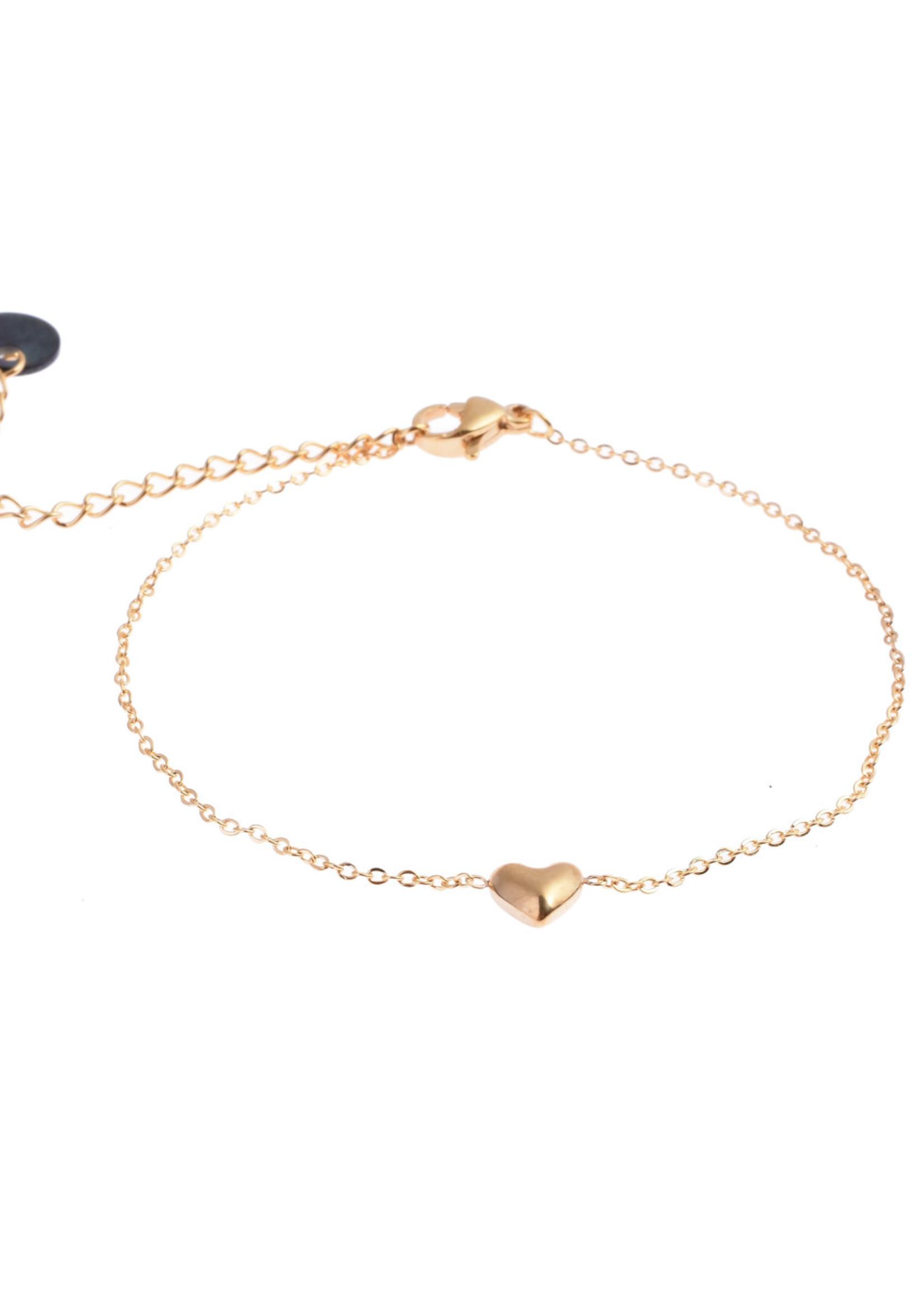 Armband goud met hartje B8814-2