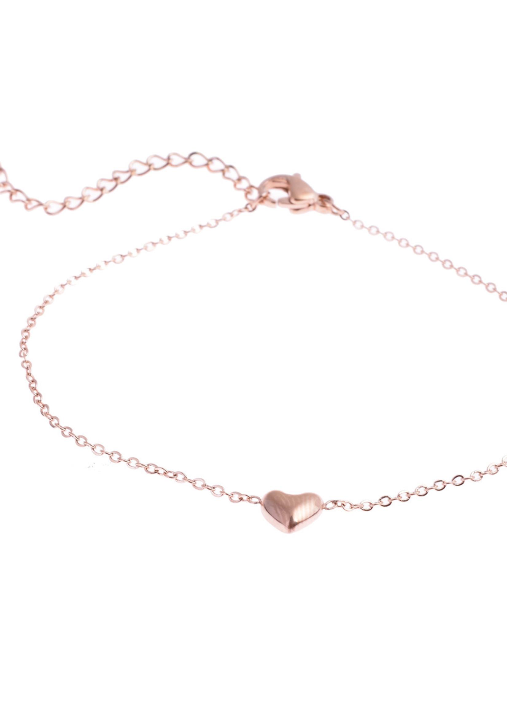 Armband rosé-goud hartje B8814-3