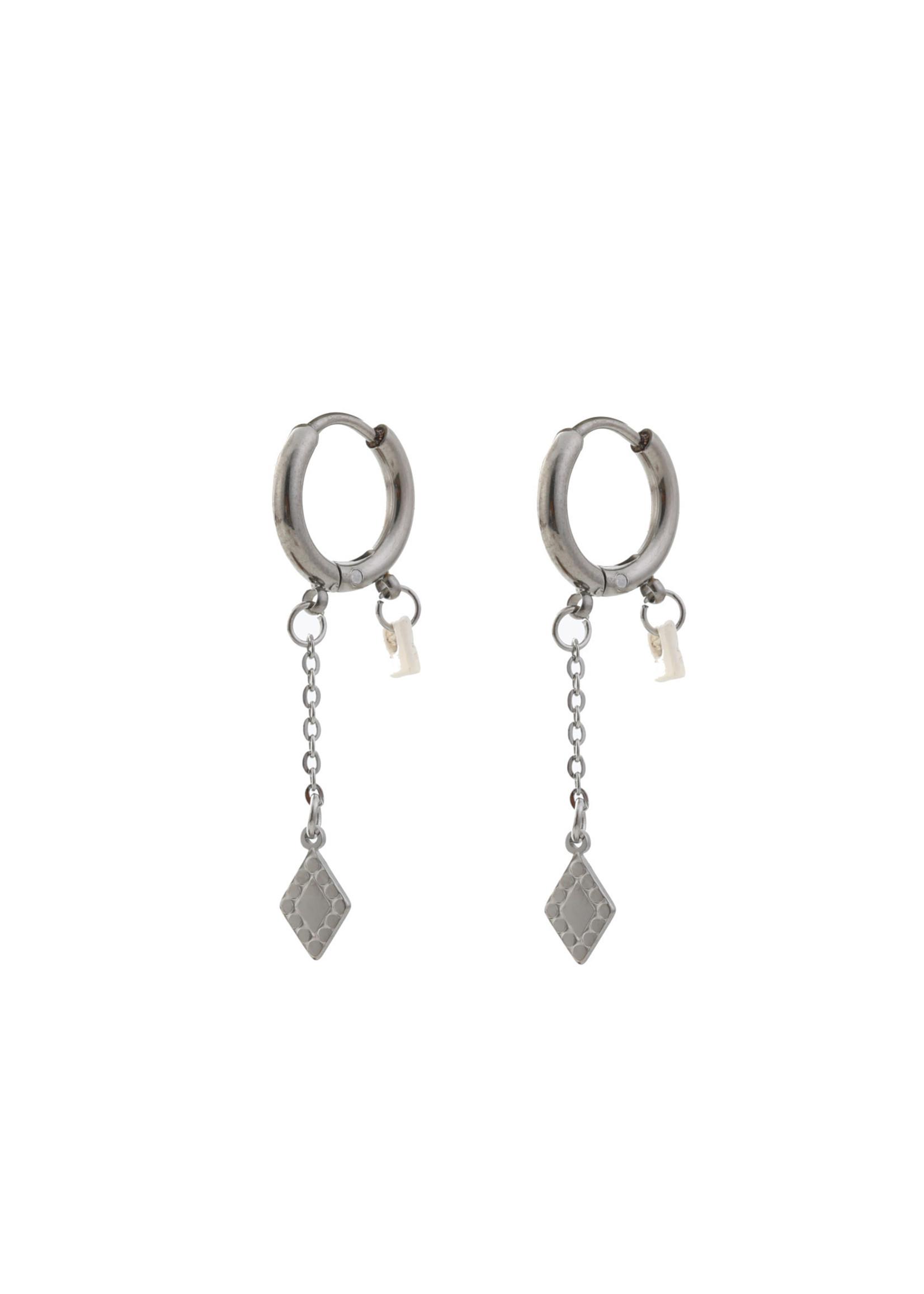 Oorbel zilver diamant en parel  E0421-1