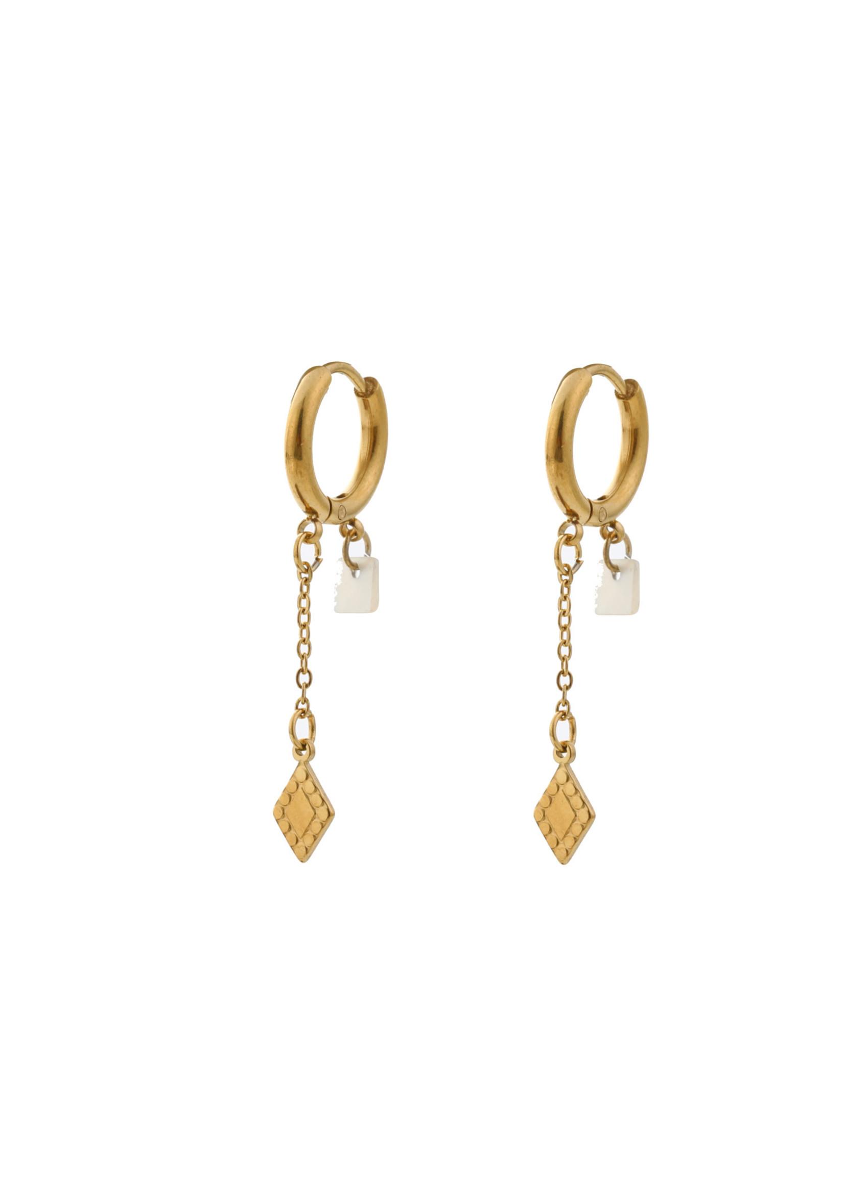Oorbel goud diamant en parel E0421-2