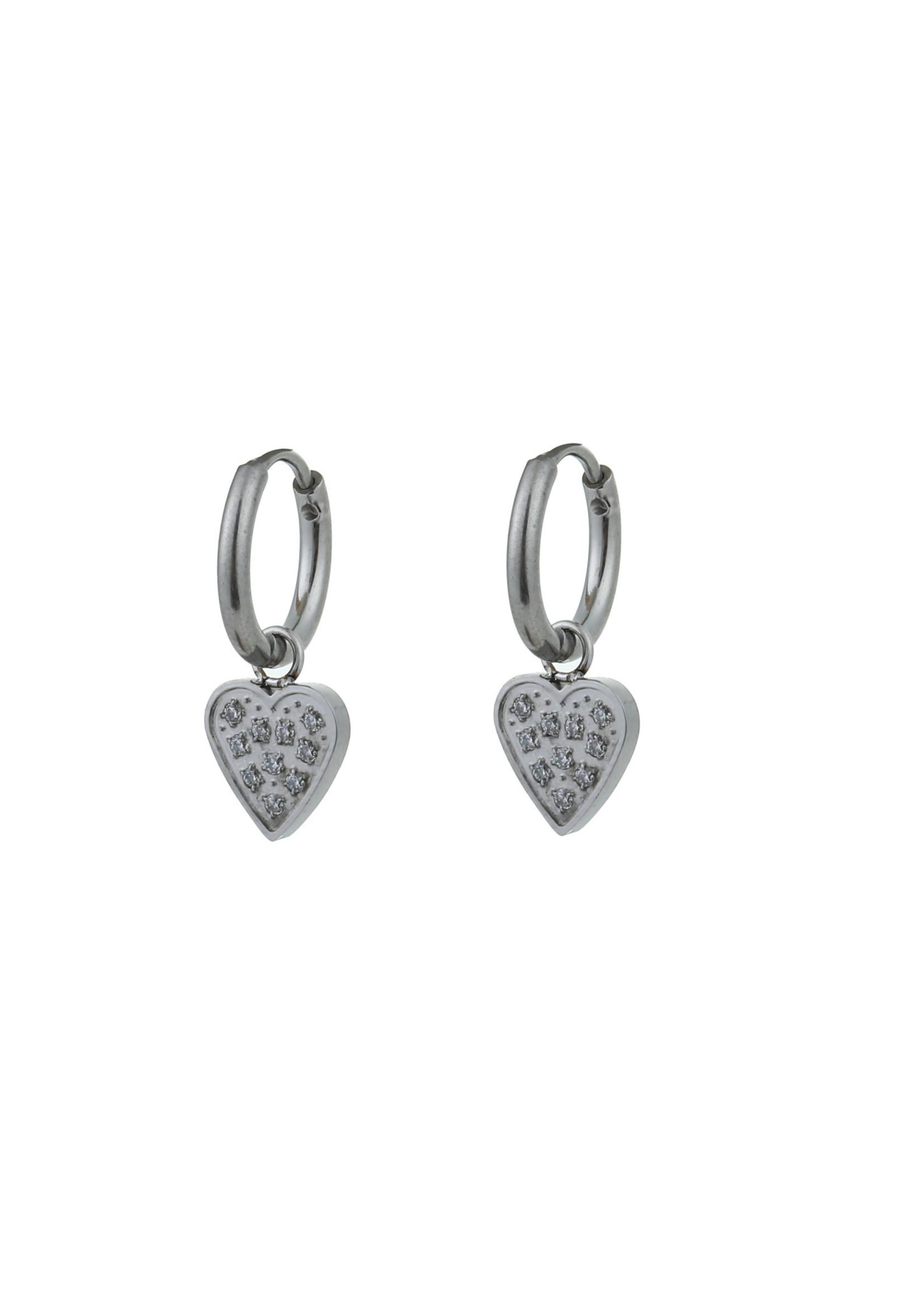 Oorbel zilver hanger hartje met steentjes E0786-1