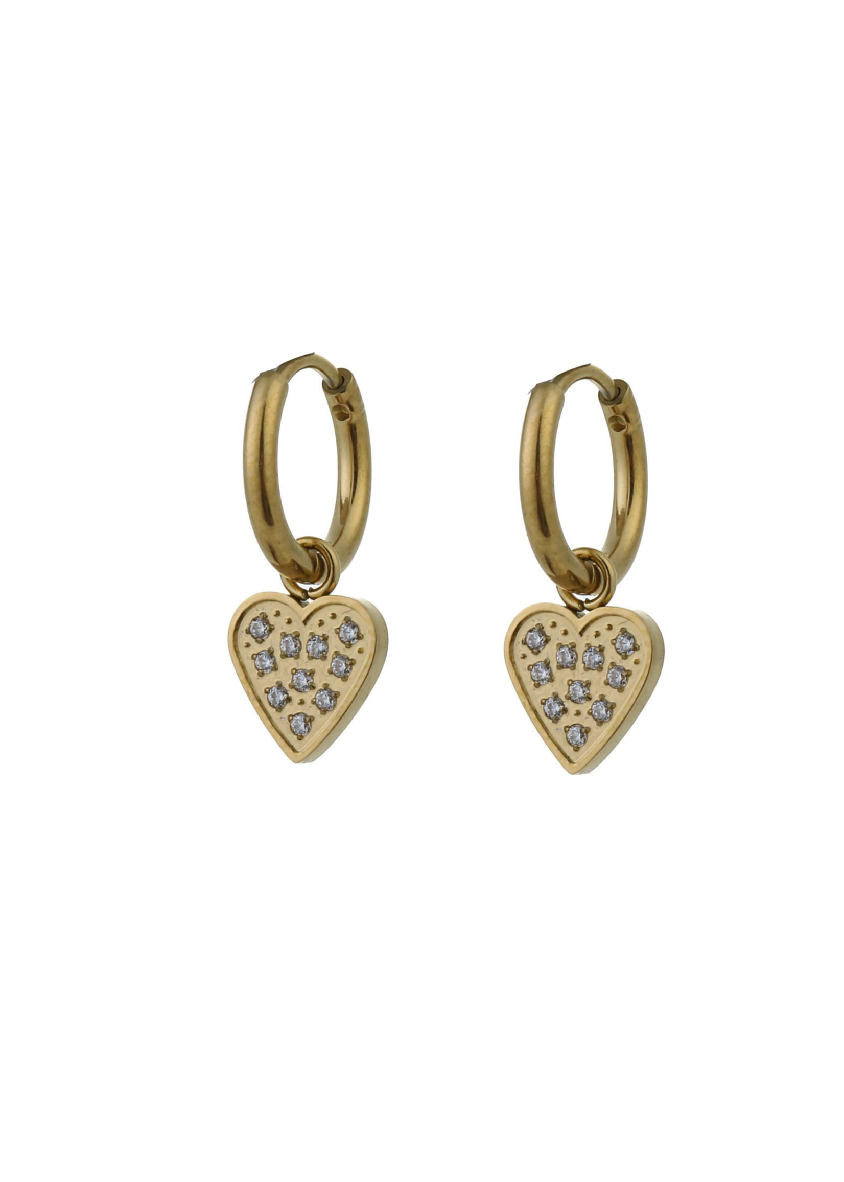 Oorbel goud hanger hartje met steentjeE0786-2
