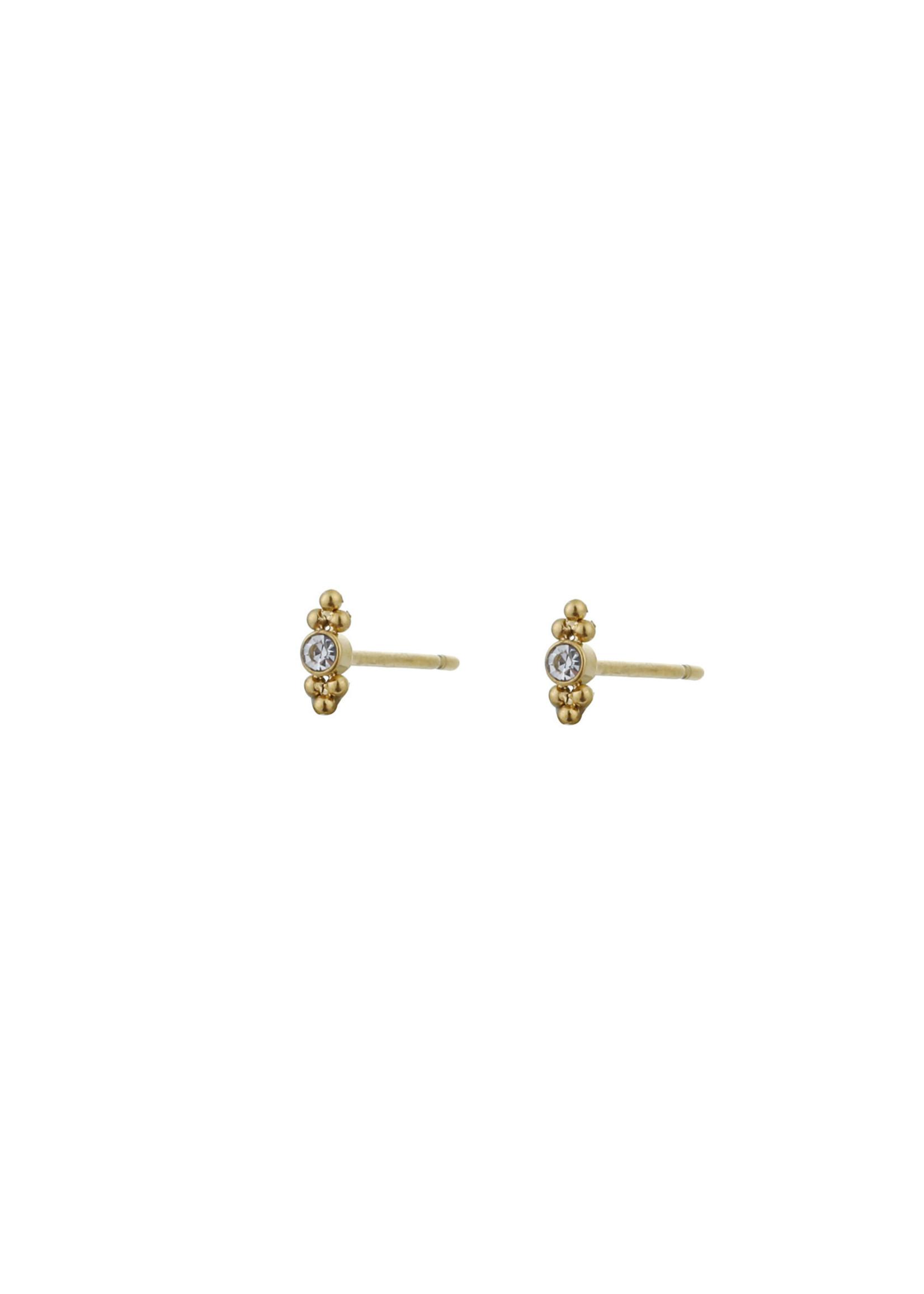 Oorbel goud met steentje E0792-2