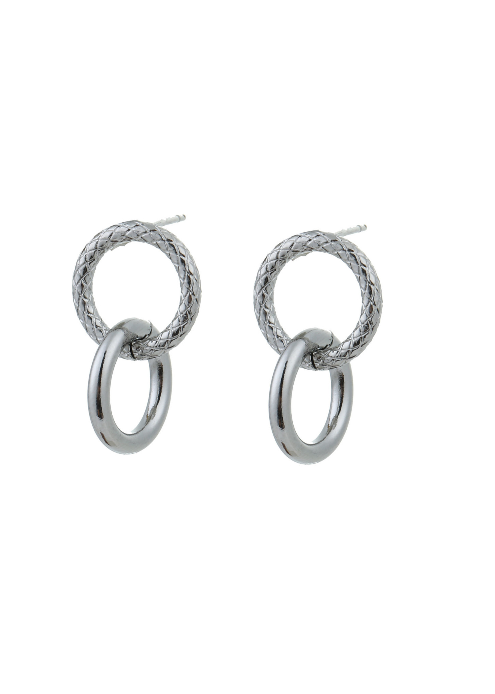 Oorbel zilver 2 ringen E0848-1