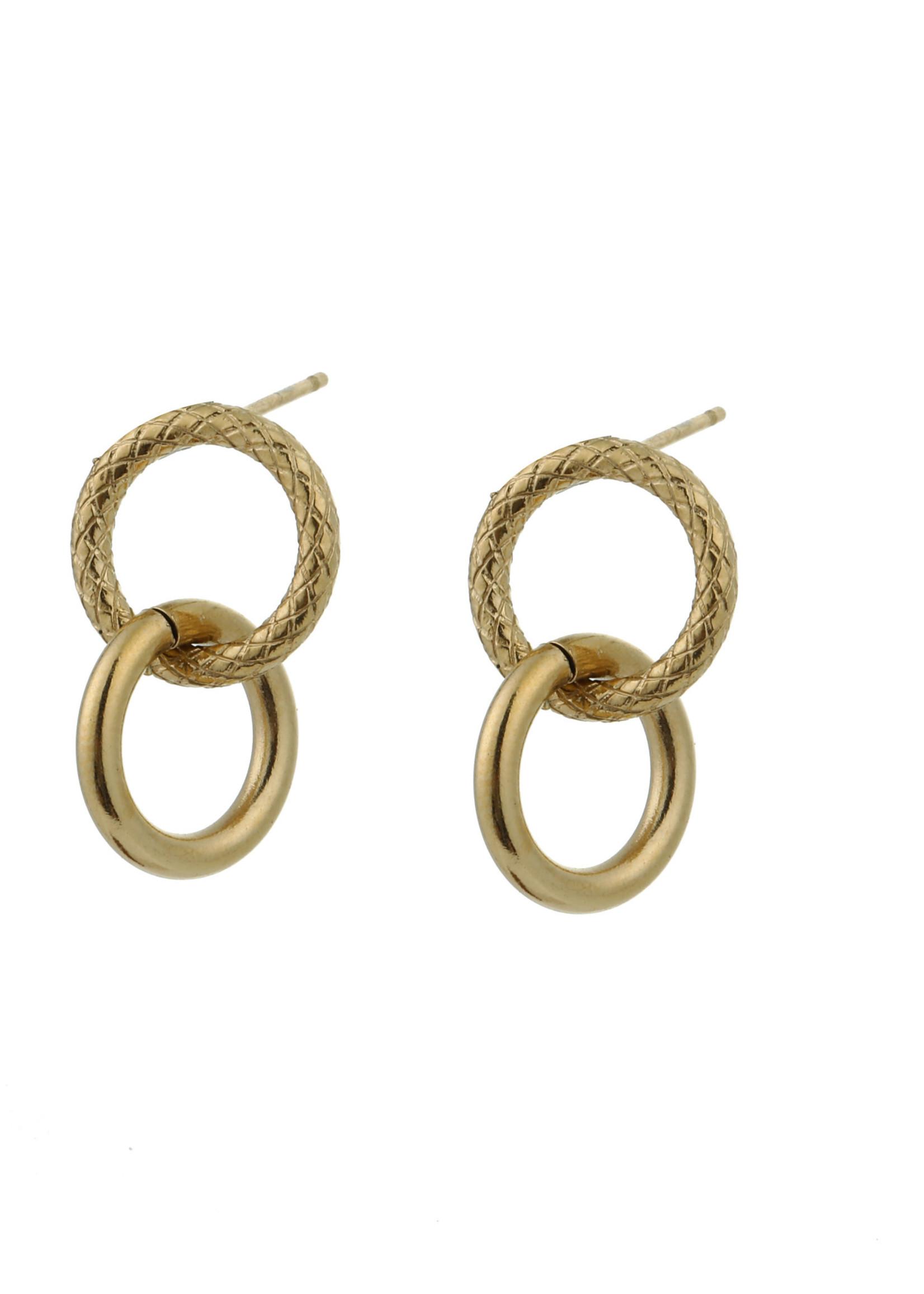 Oorbel goud 2 ringen E0848-2