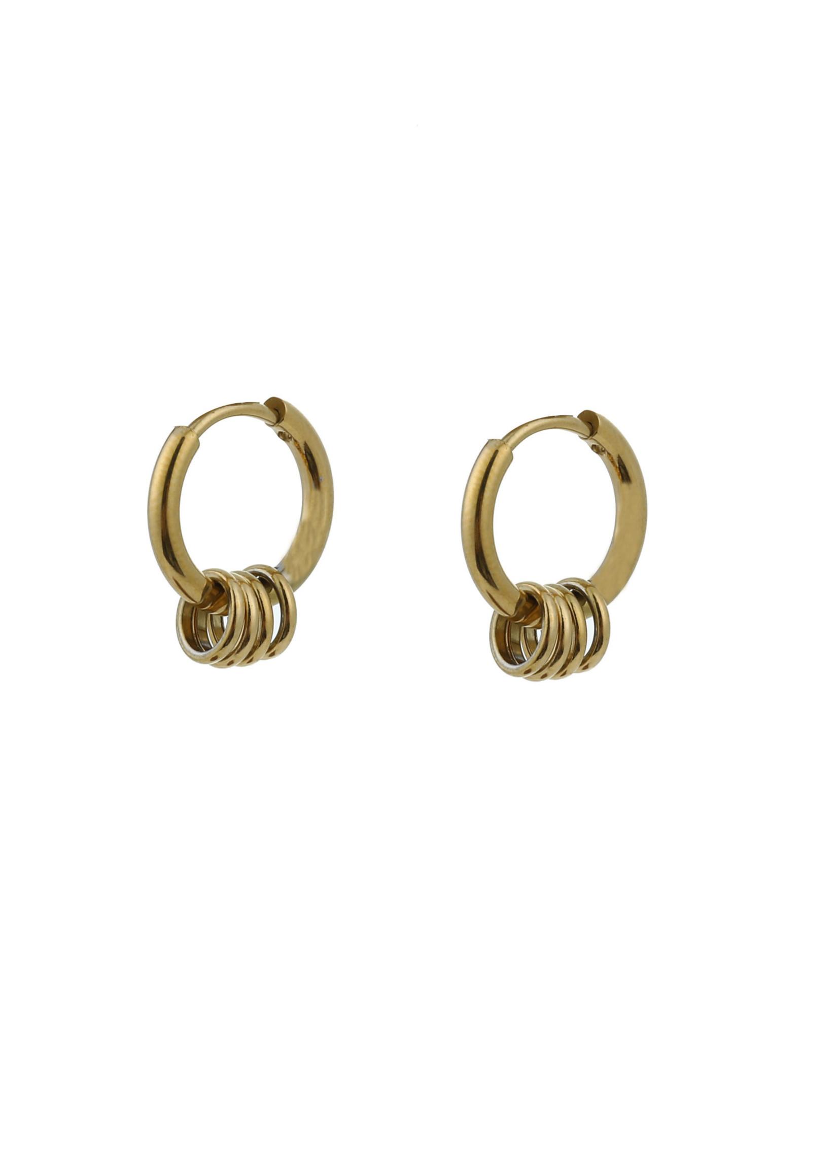 Oorbel goud creool met ringetjes E0884-2