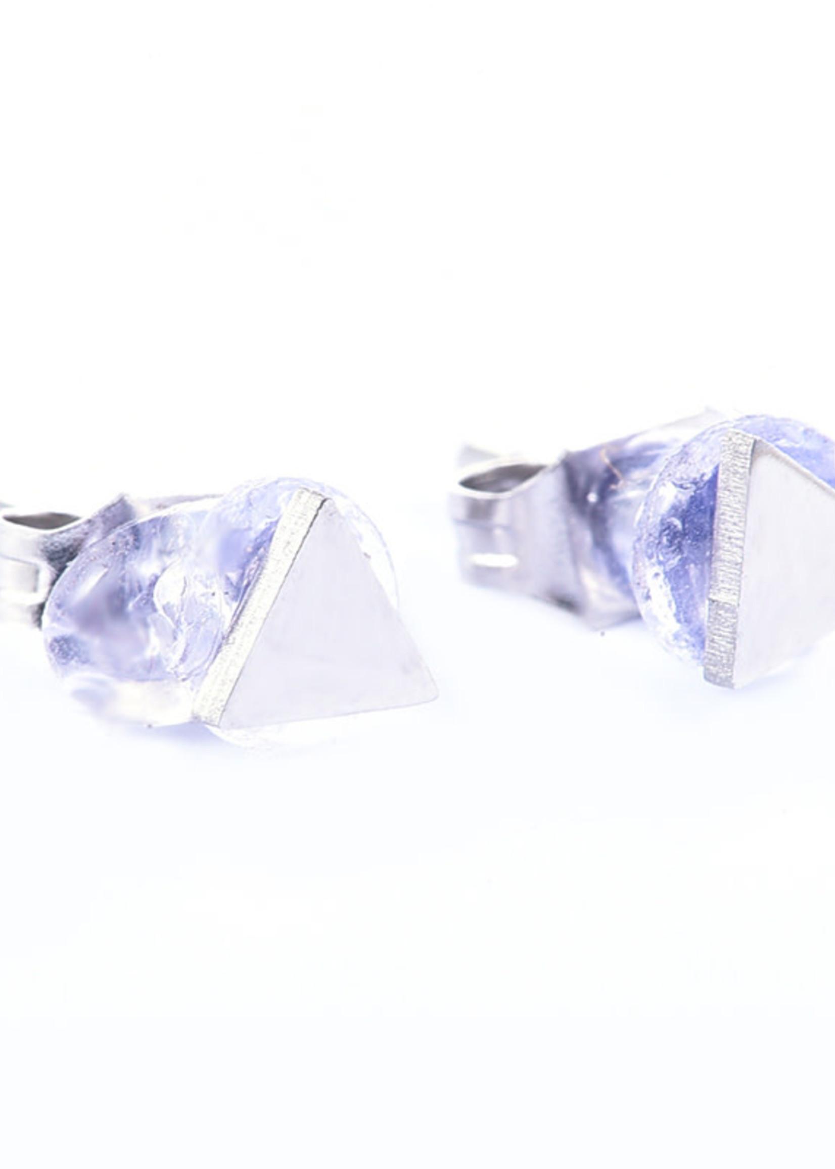 Oorbel zilver driehoekje E7011-1