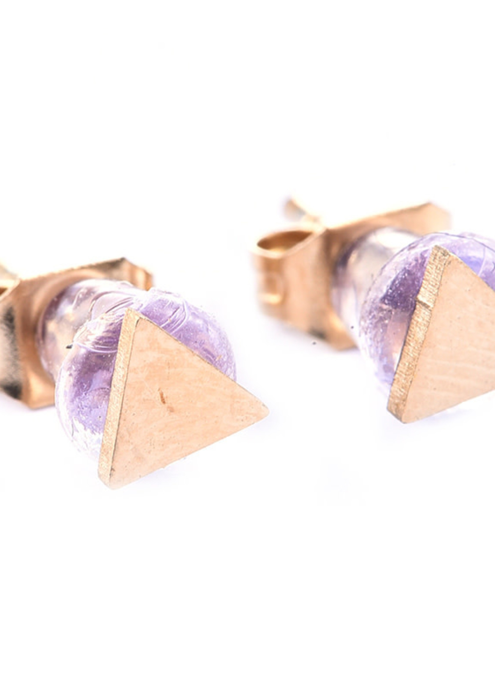Oorbel goud driehoekje E7011-2
