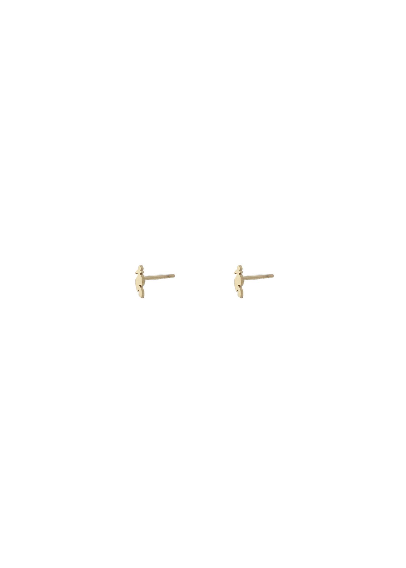 Oorbel goud veer E9308-2