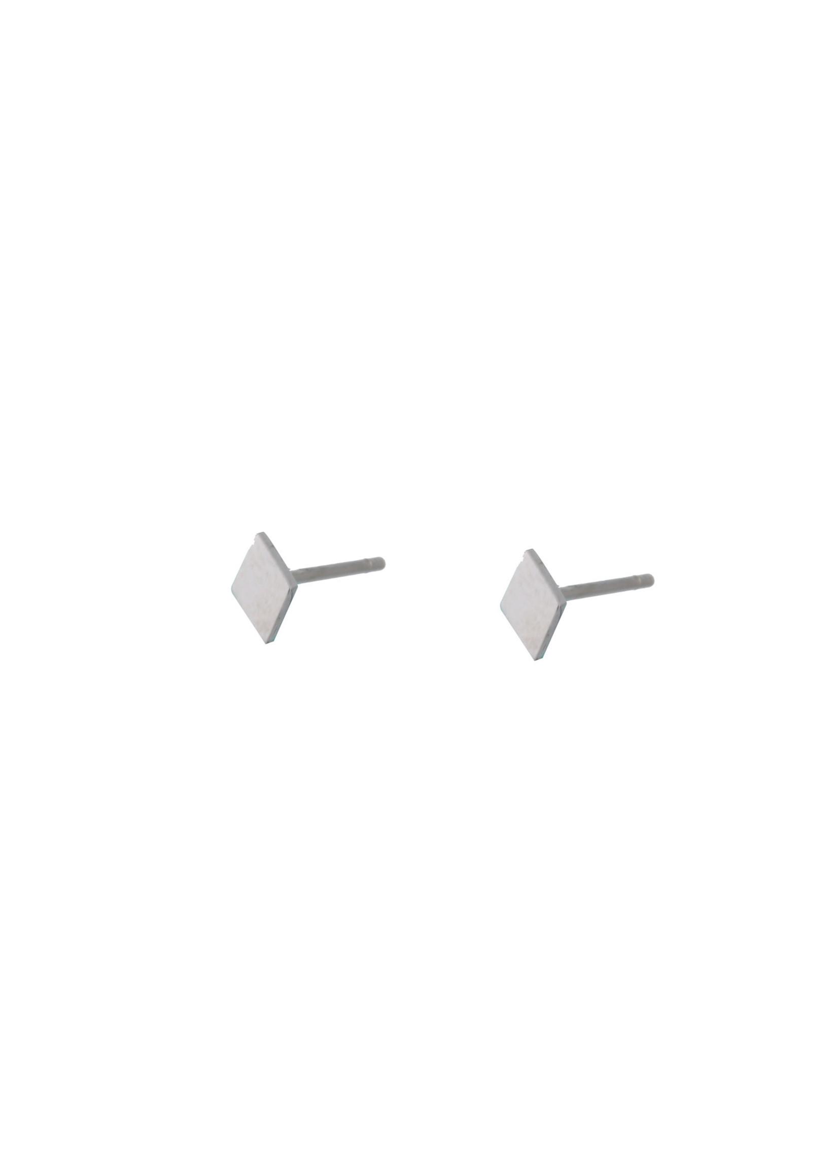 Oorbel zilver ruit E9875-1