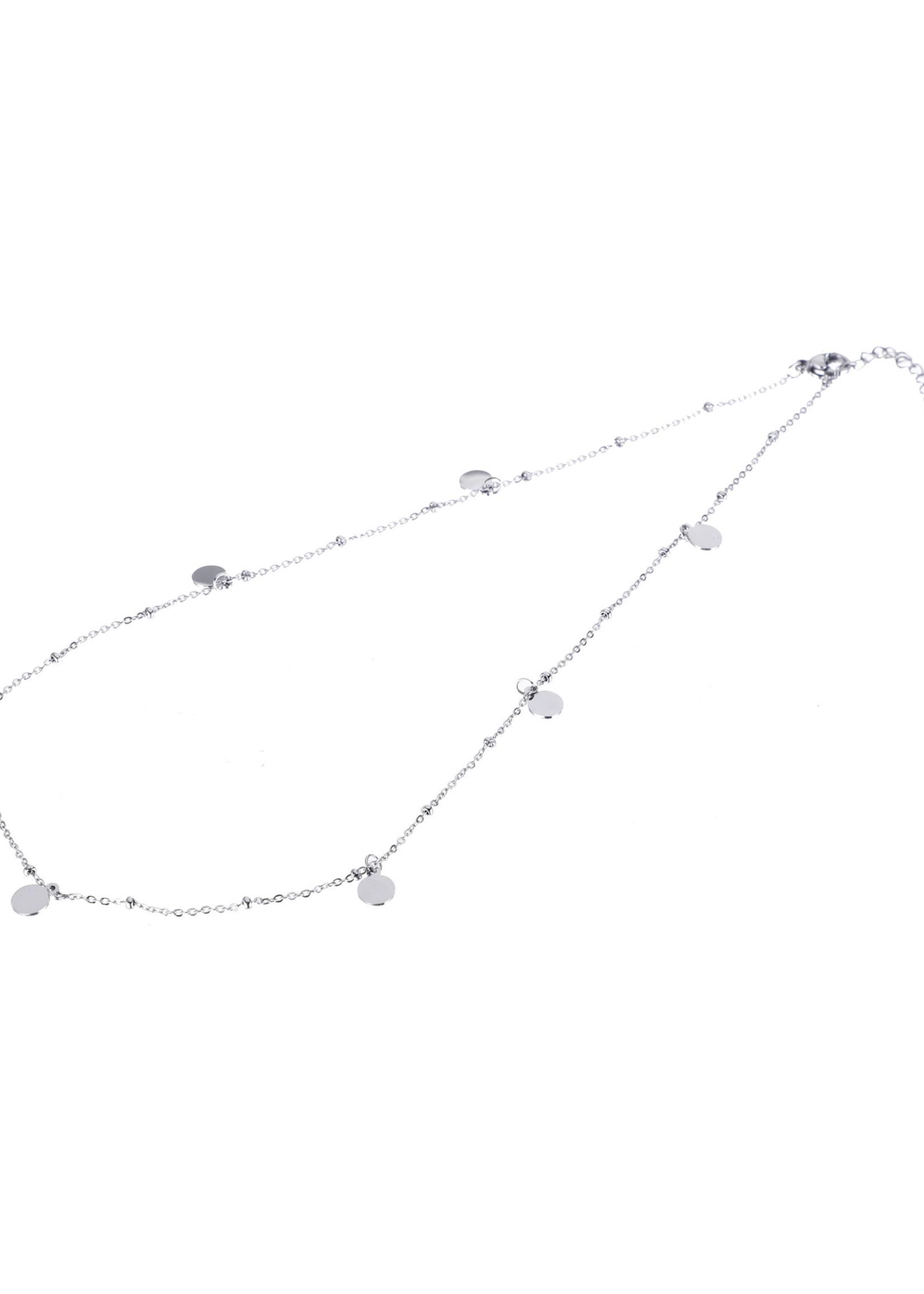 Ketting zilver met muntjes  N9319-1