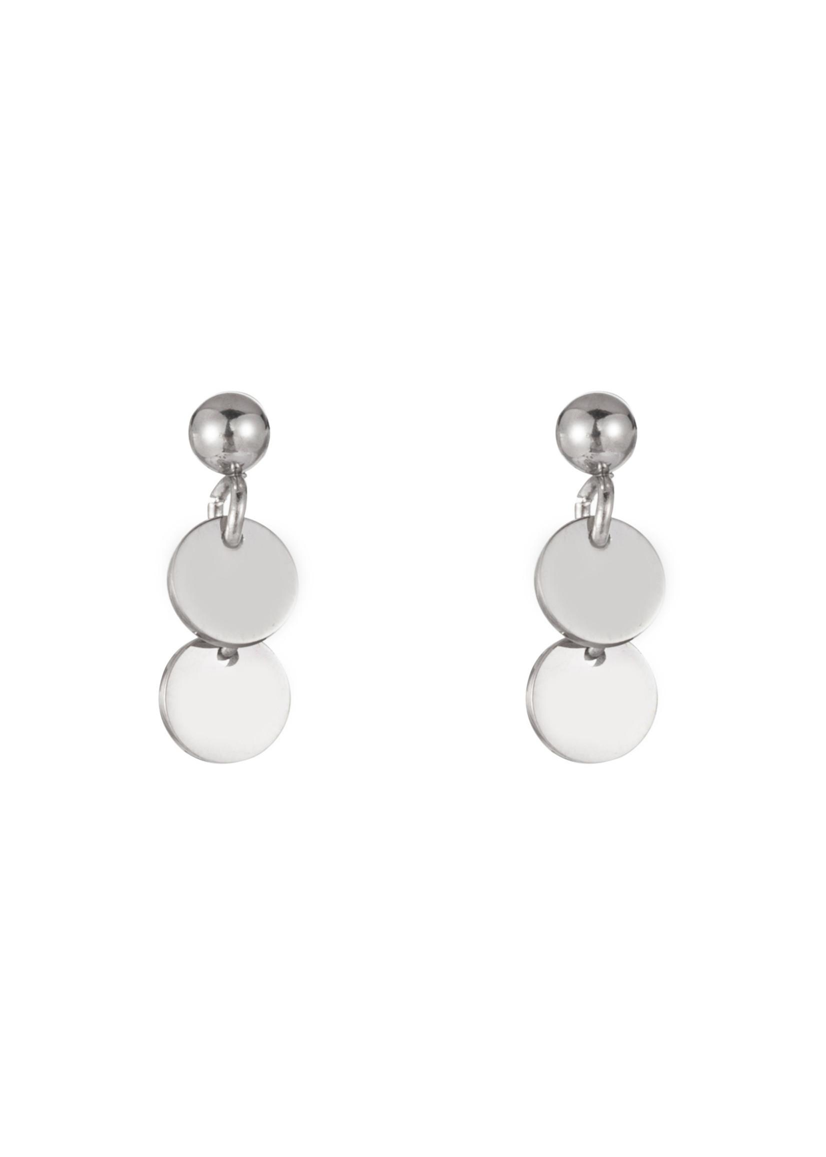 Oorbel zilver muntjes E1294-1