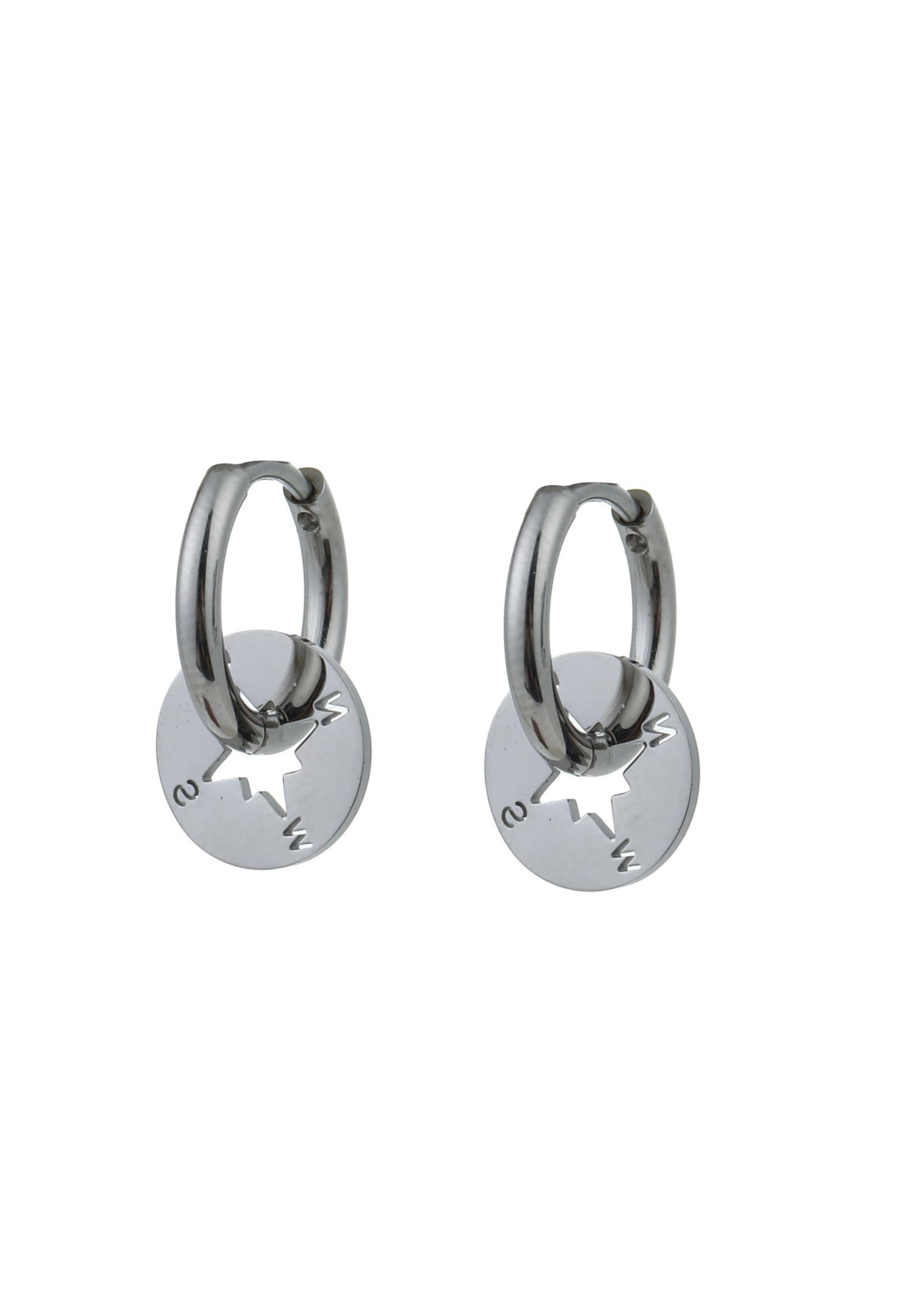 Oorbel zilver kompas E0768-1