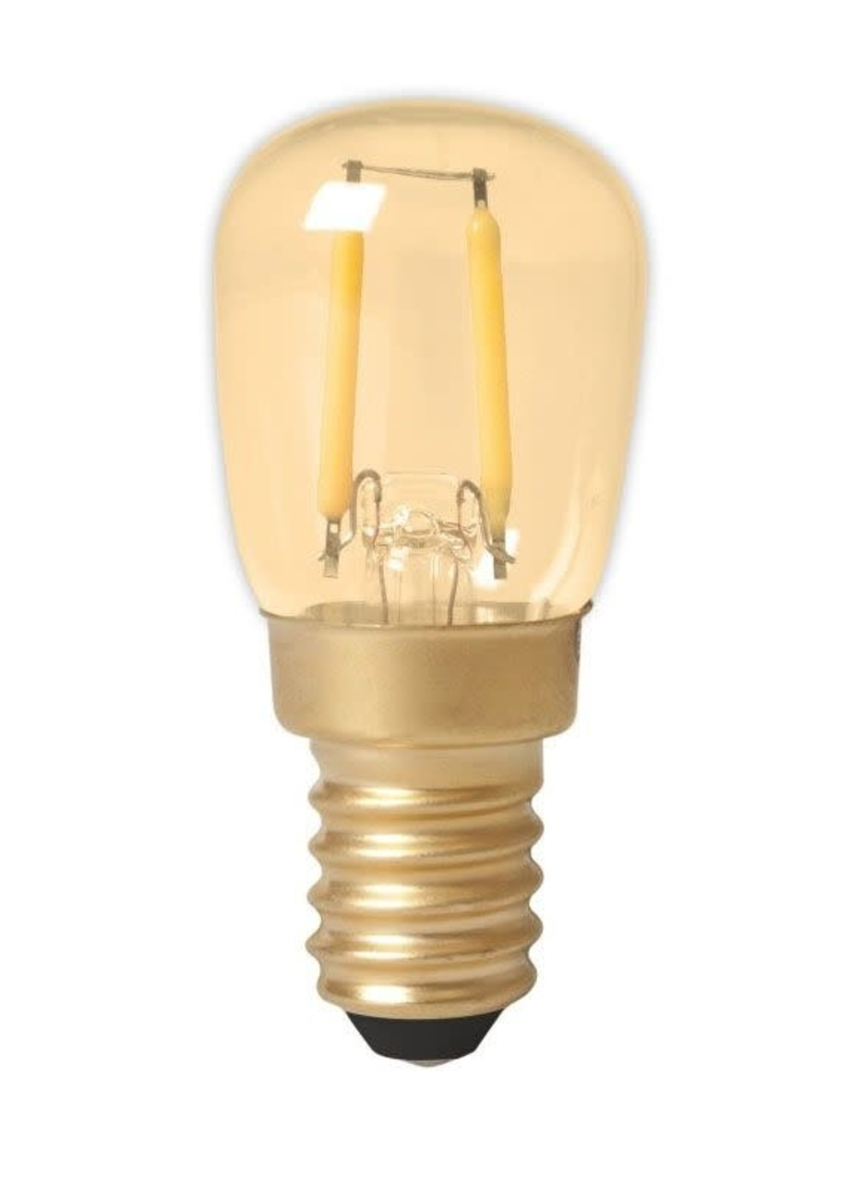 Calex Calex LED volglas Filament Schakelbordlamp 220-240V 1,5W 130lm E14 T26, Goud 2100K CRI80