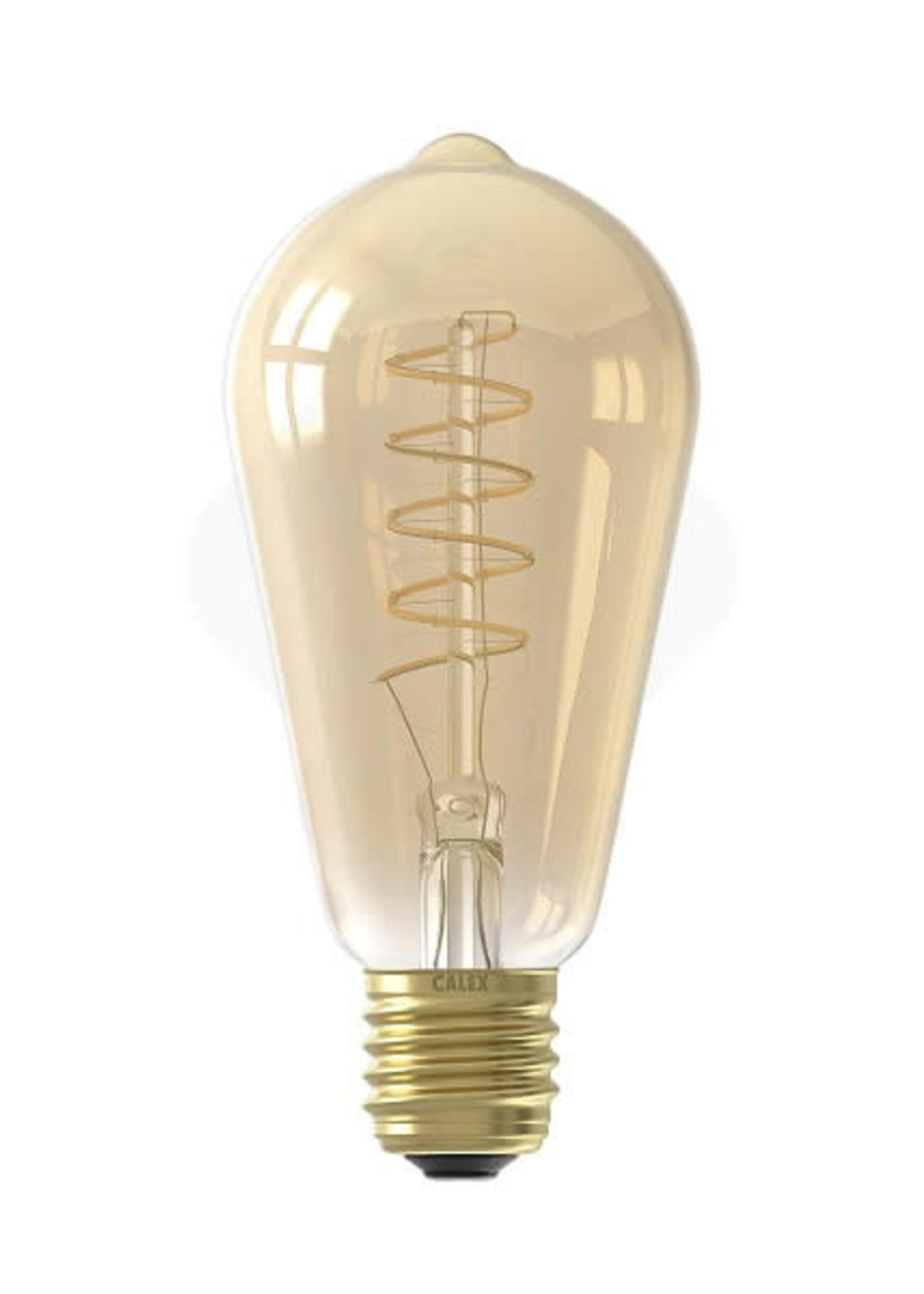 Calex Calex LED volglas Flex Filament Rustieklamp 220-240V 4W 200lm E27 ST64, Goud 2100K Dimbaar, energielabel A