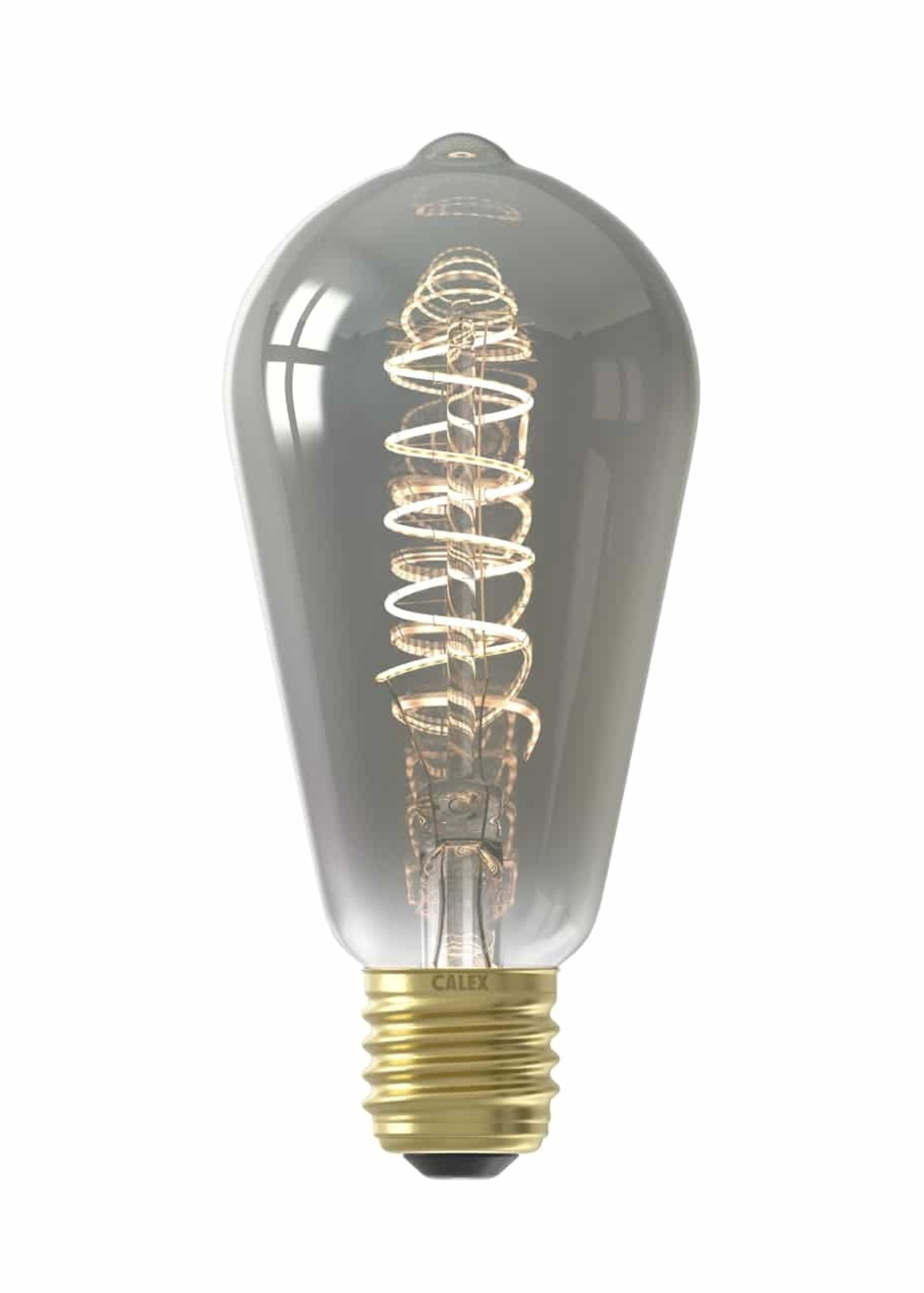 Calex Calex LED volglas Flex Filament Rustieklamp 220-240V 4W 100lm E27 ST64, Titanium 2100K Dimbaar, energielabel B