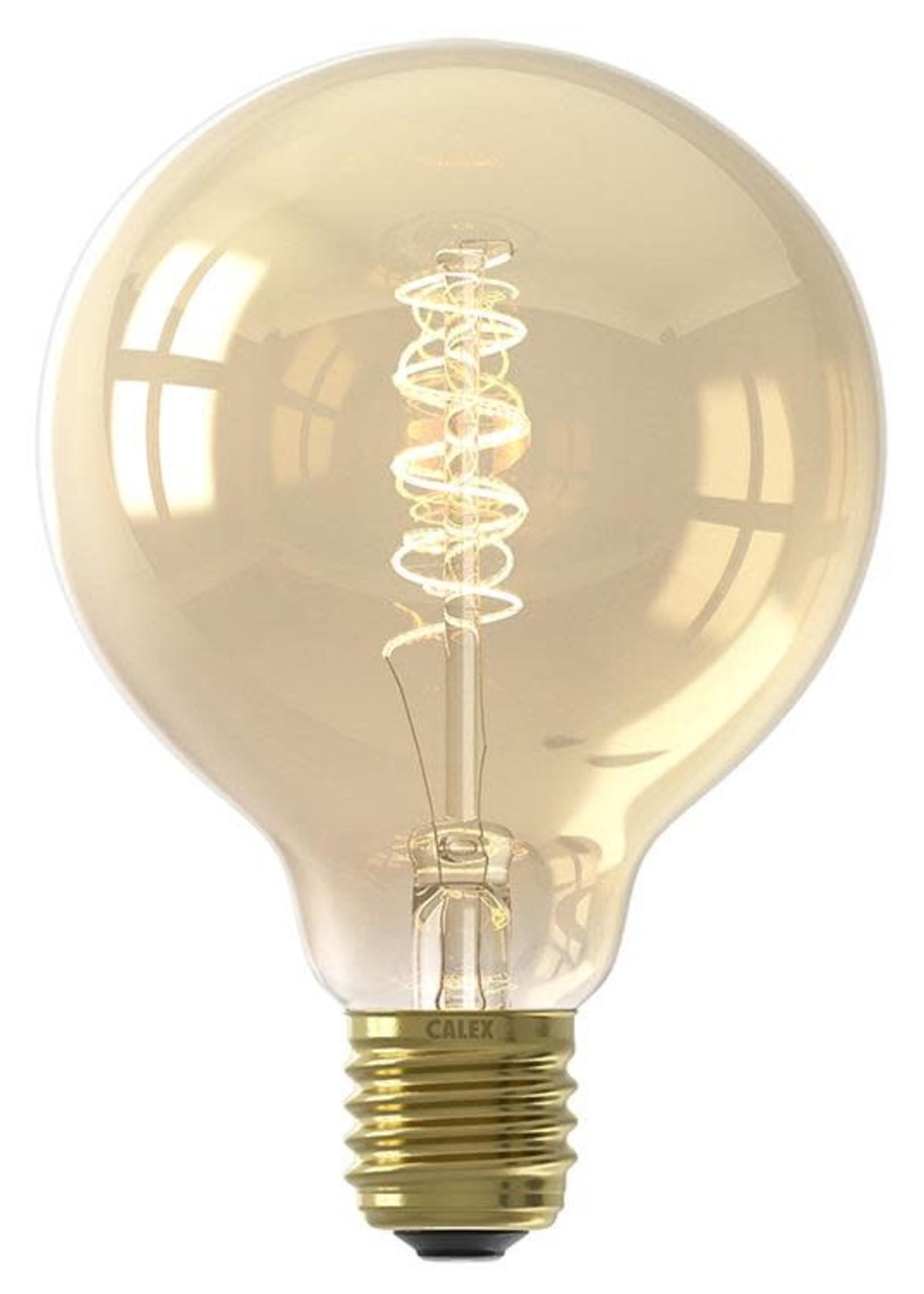Calex Calex LED volglas Flex Filament Globelamp 220-240V 4W 200lm E27 G95, Goud 2100K Dimbaar10, energielabel A
