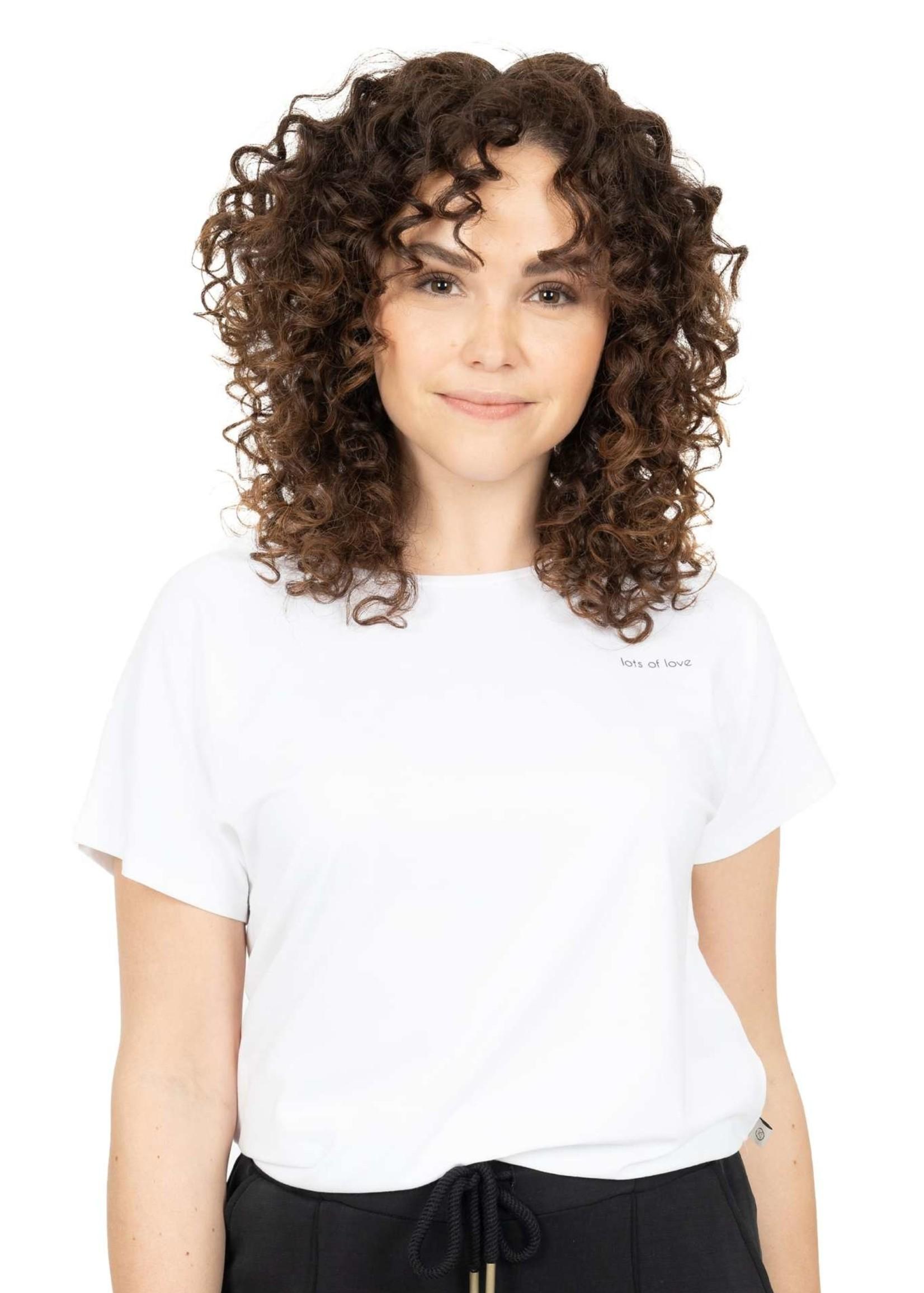 ZUSSS basic t-shirt met ronde hals lots of love wit