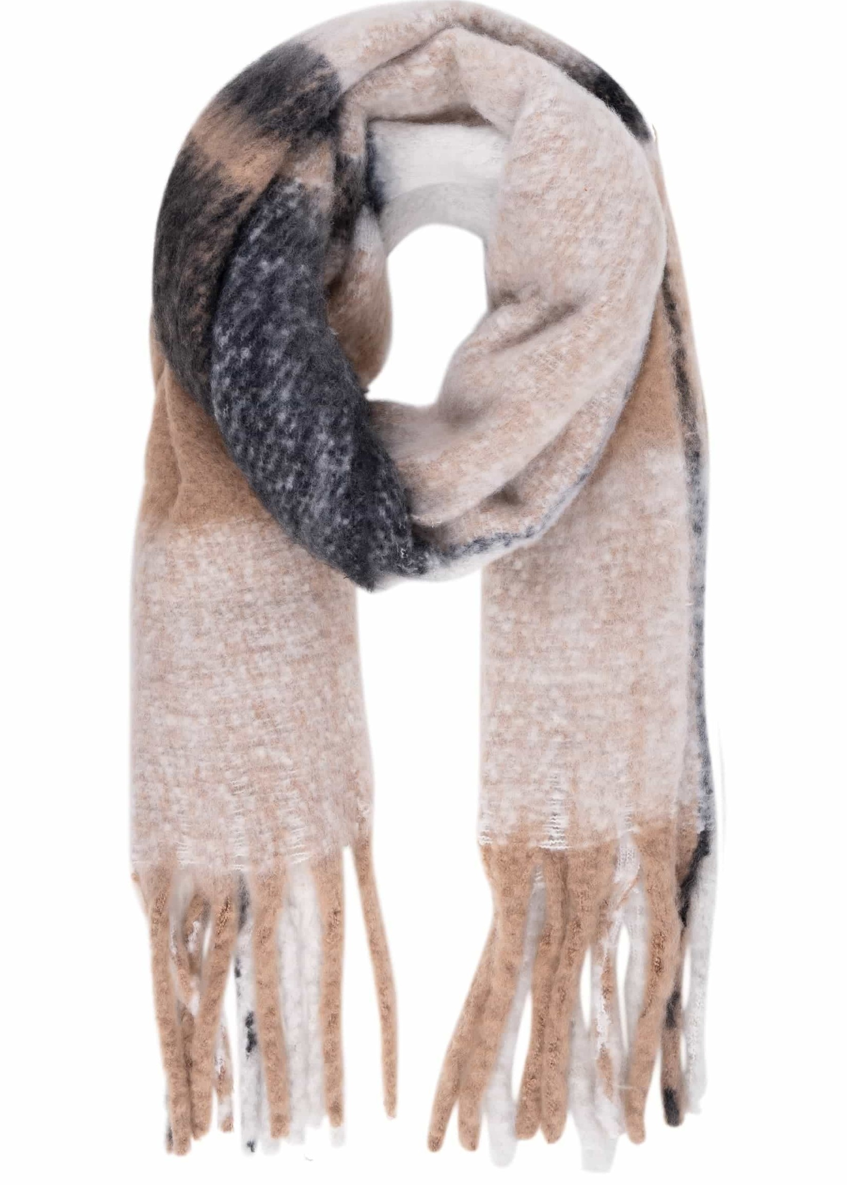ZUSSS geruite sjaal met franjes taupe