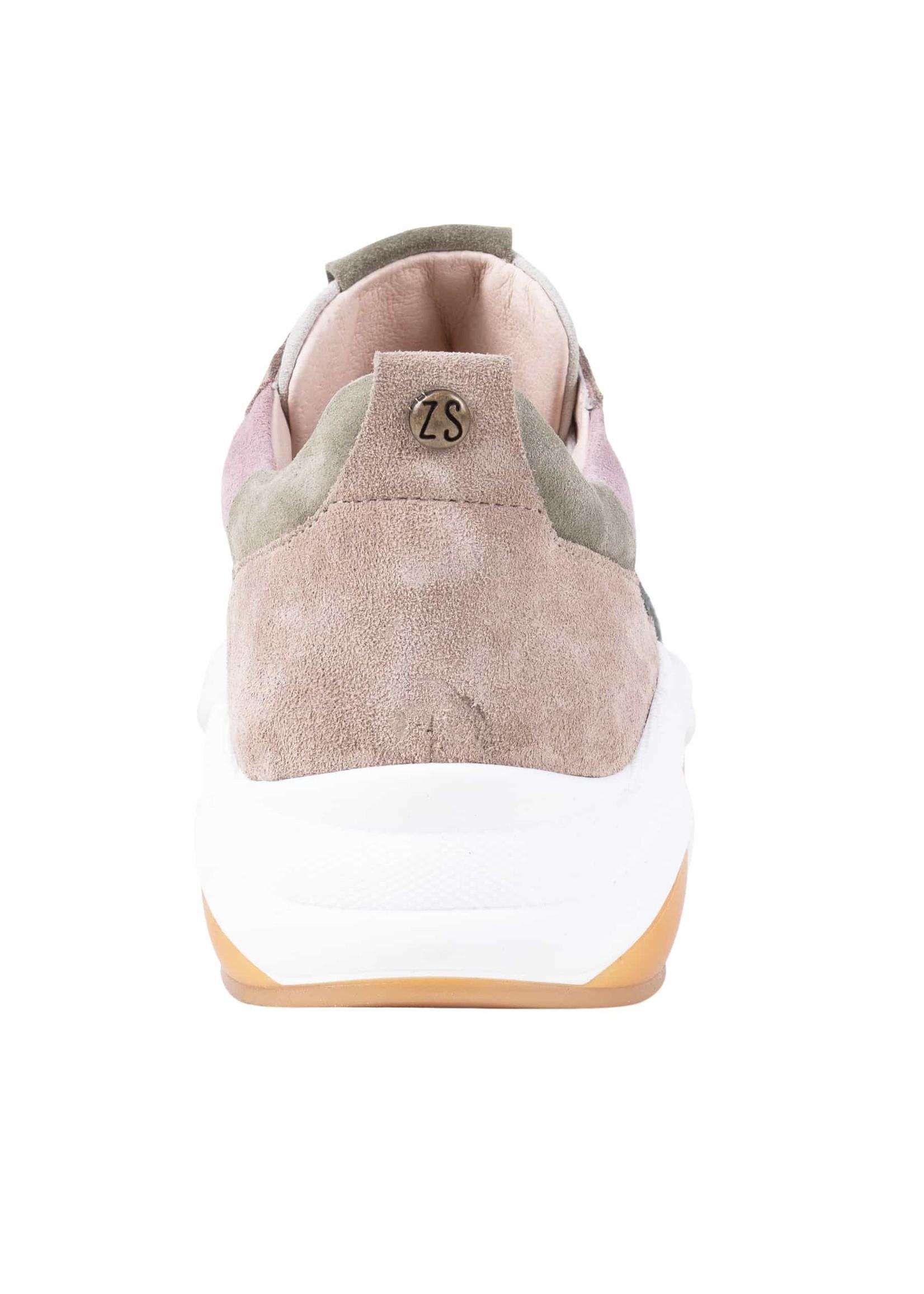 ZUSSS gave sneaker taupe/lichtgroen
