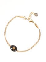 Armband goud met zwarte steen B1209-6
