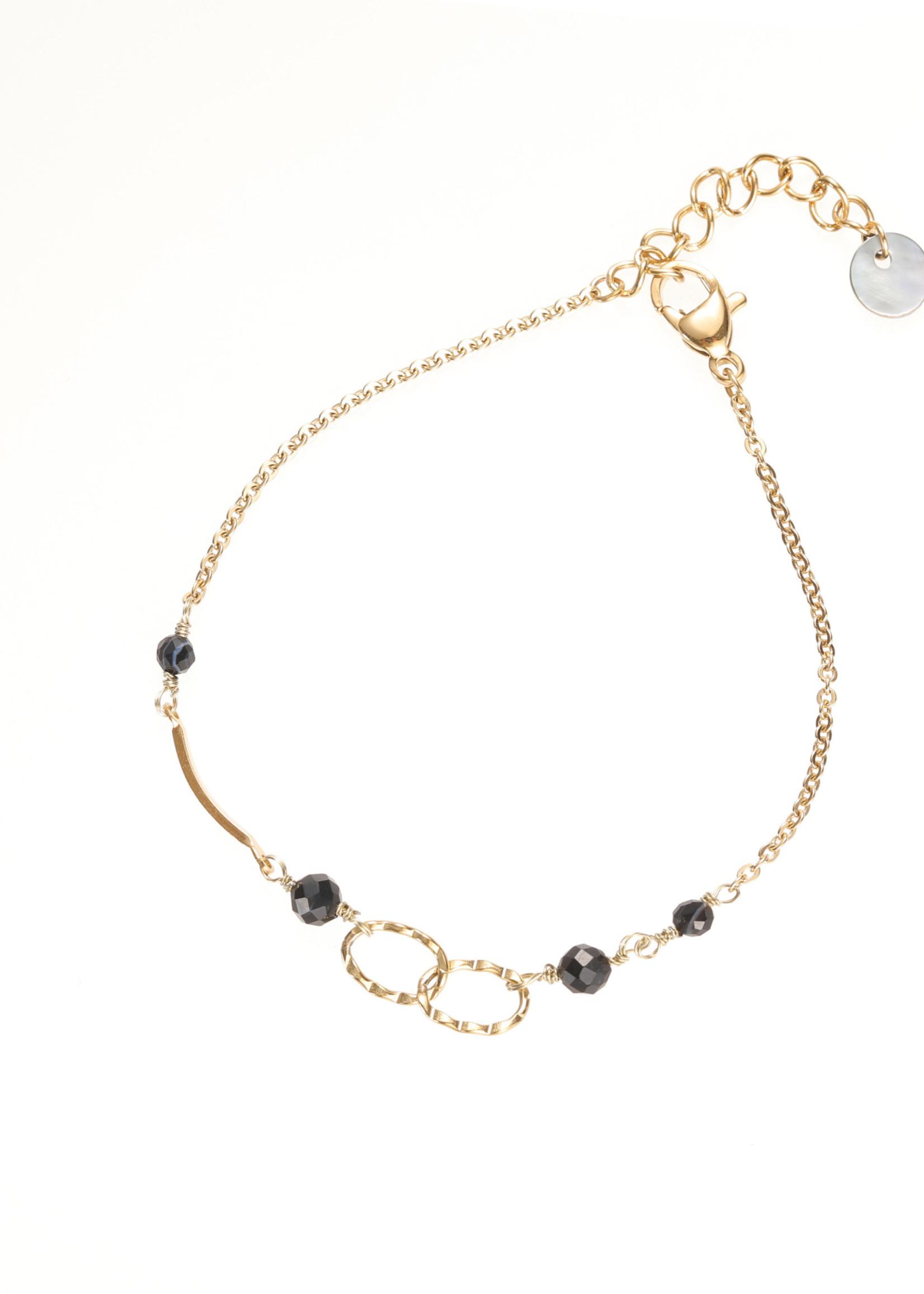 Armband goud met 2 ringen B1213-6