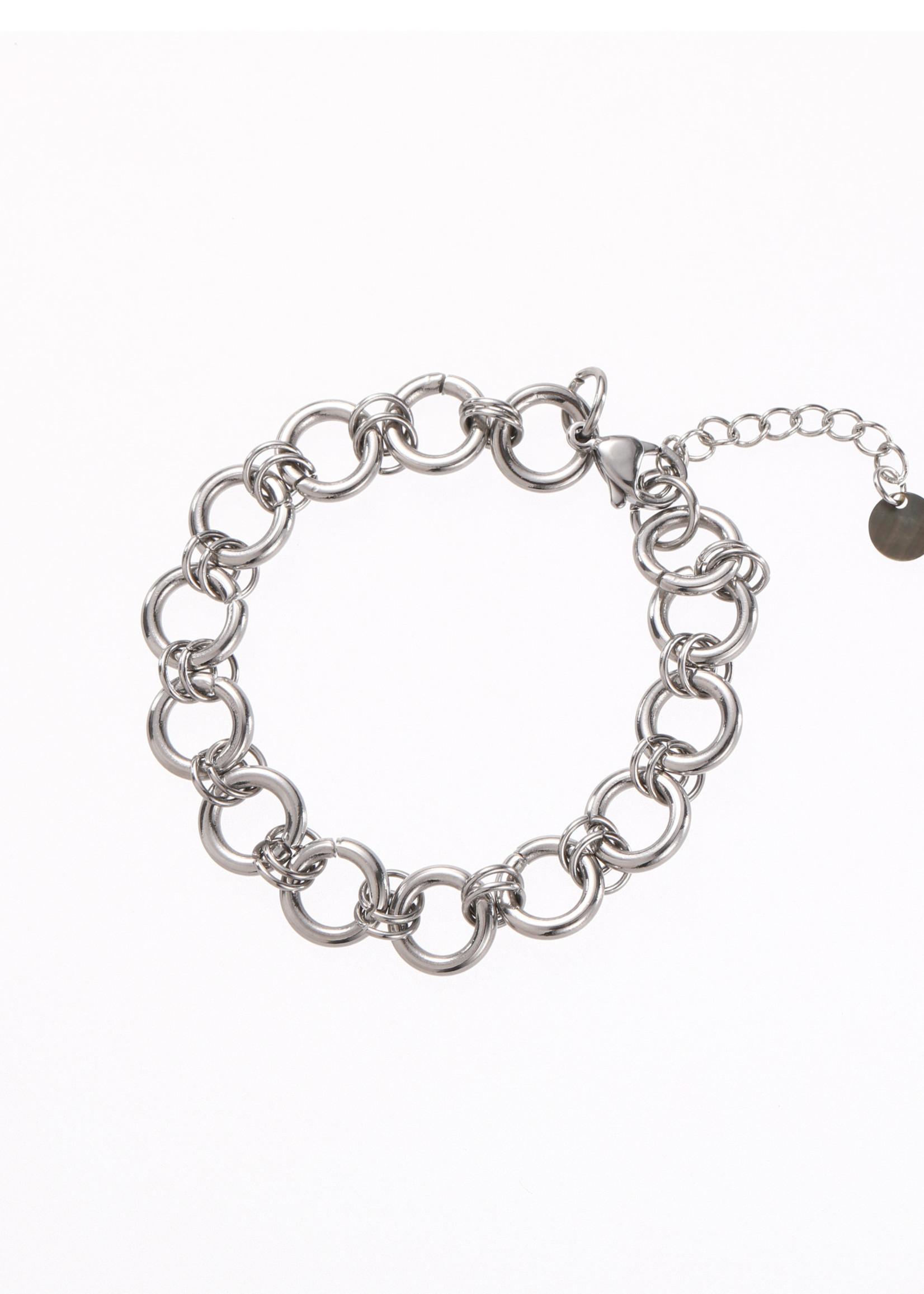 Armband zilver grove ronde schakel B1285-1
