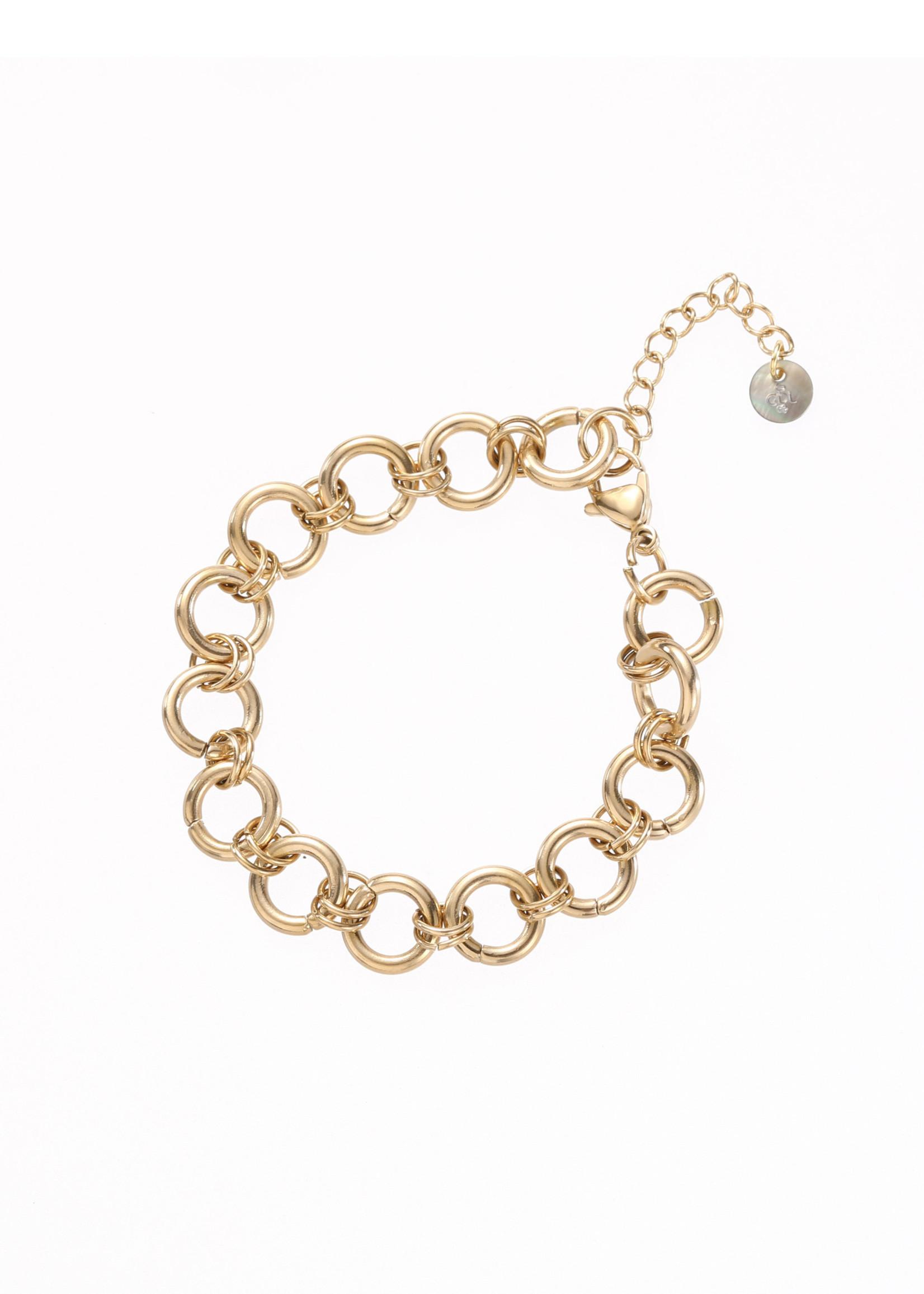 Armband goud grove ronde schakel B1285-2
