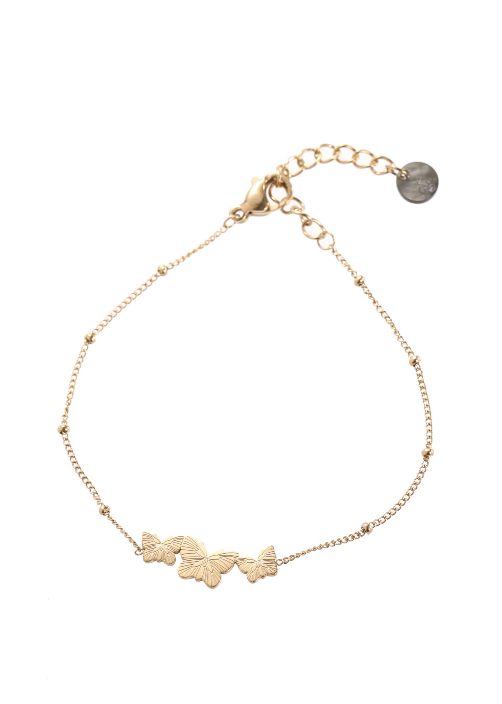 Armband goud vlindertjes B1708-2