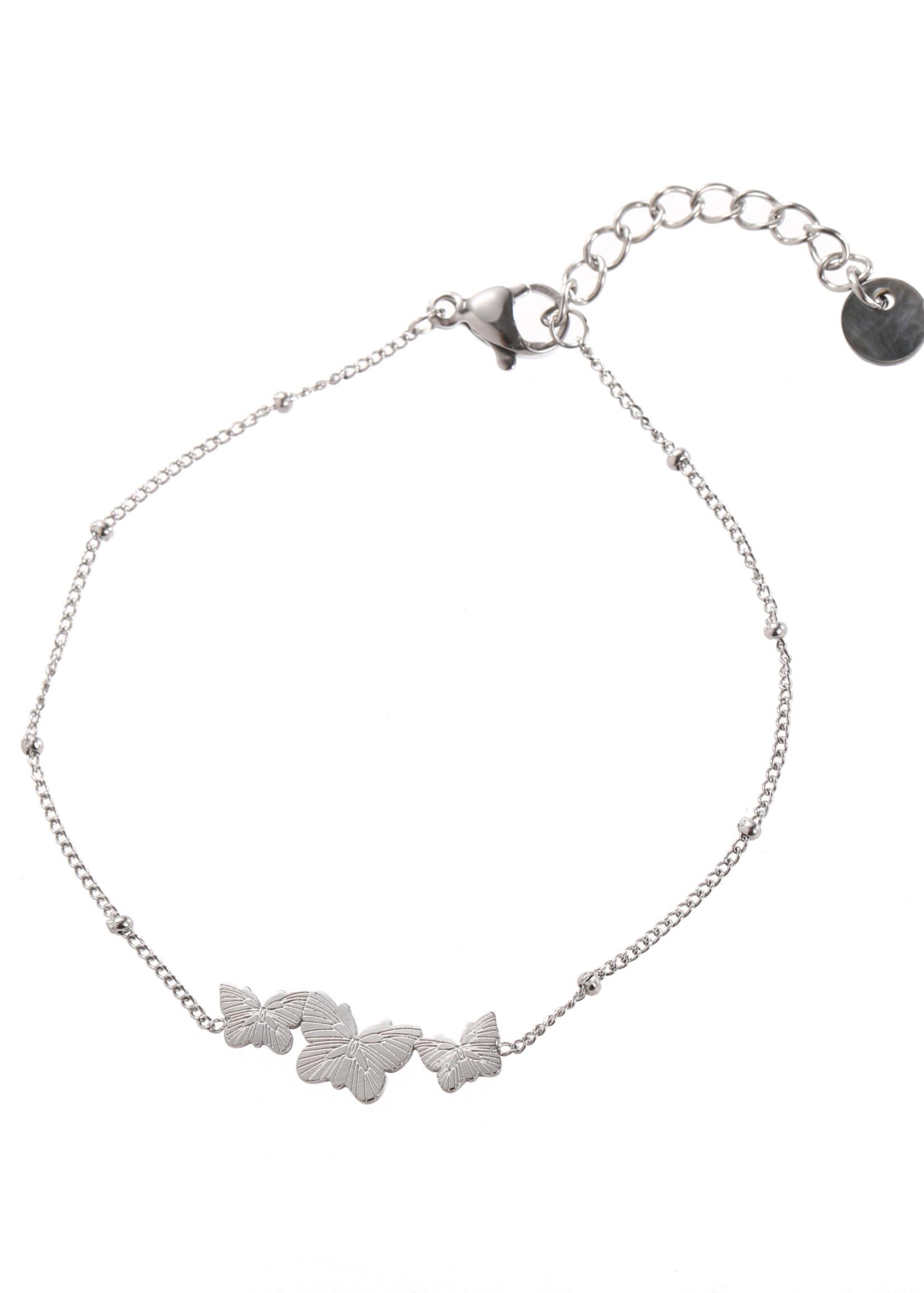 Armband zilver vlindertjes B1708-1