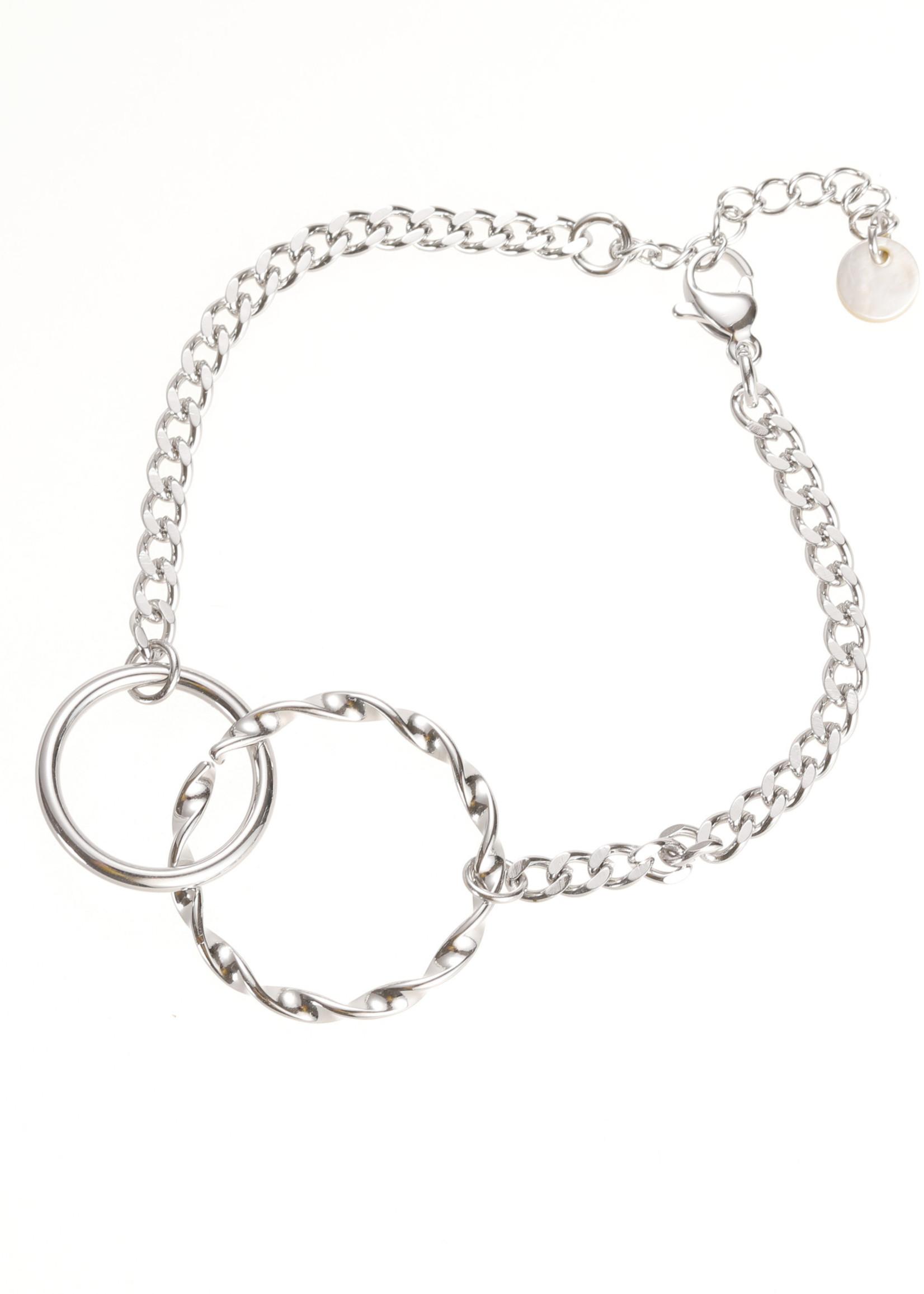 Armband zilver grof met 2 ringen B1710-1