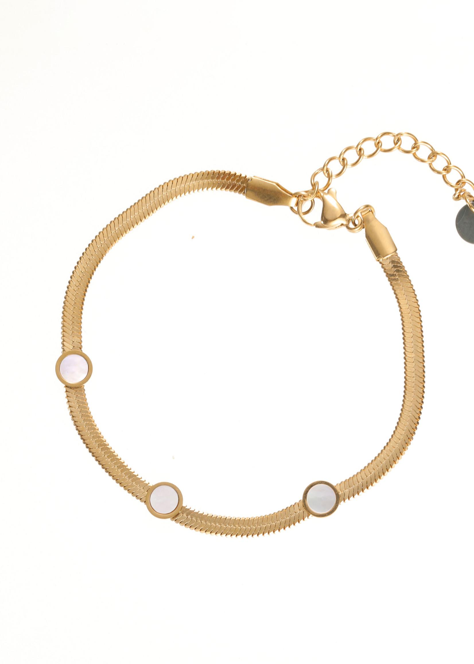 Armband goud met pareltjes B1732-2