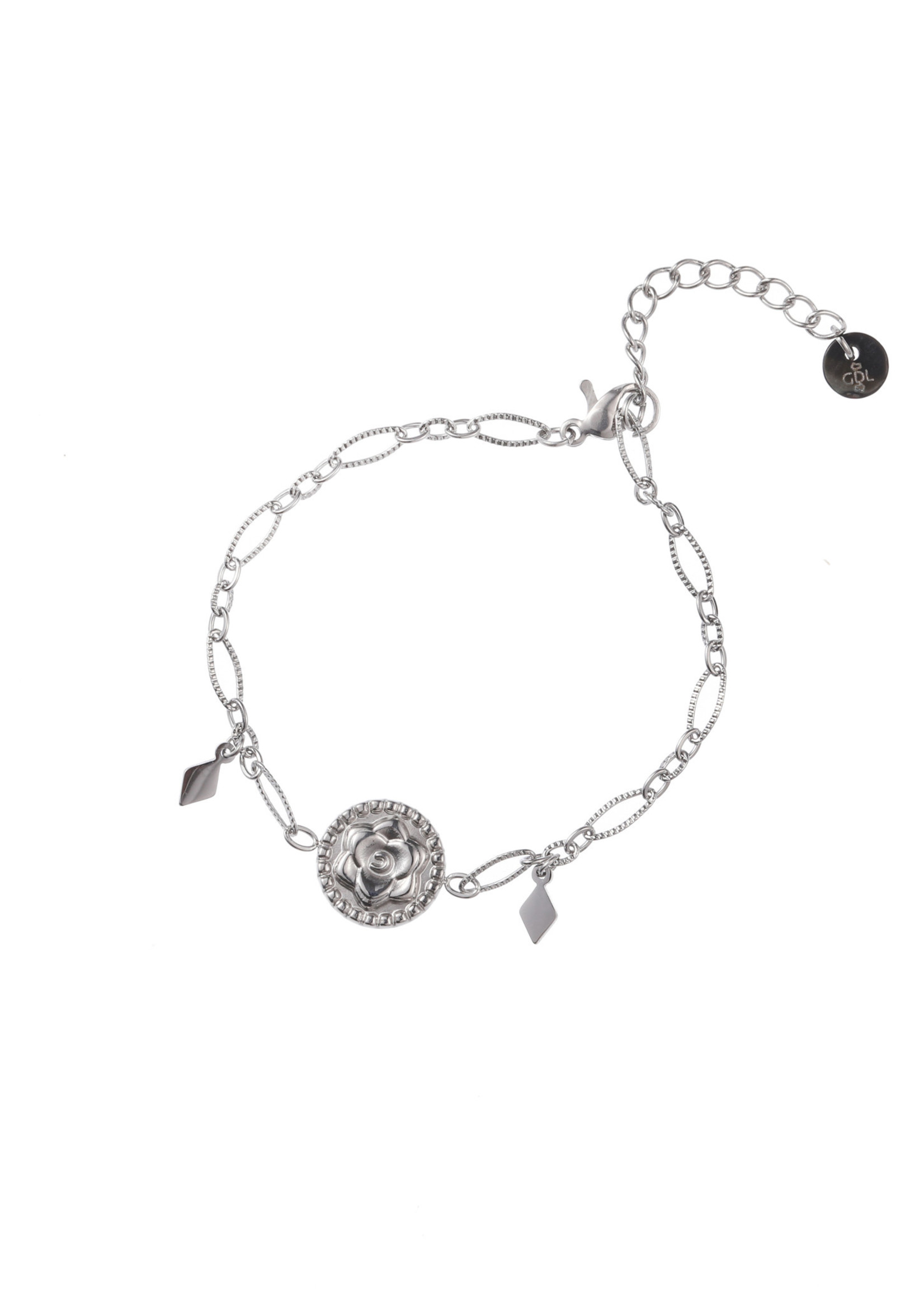 Armband zilver bloem B1739-1