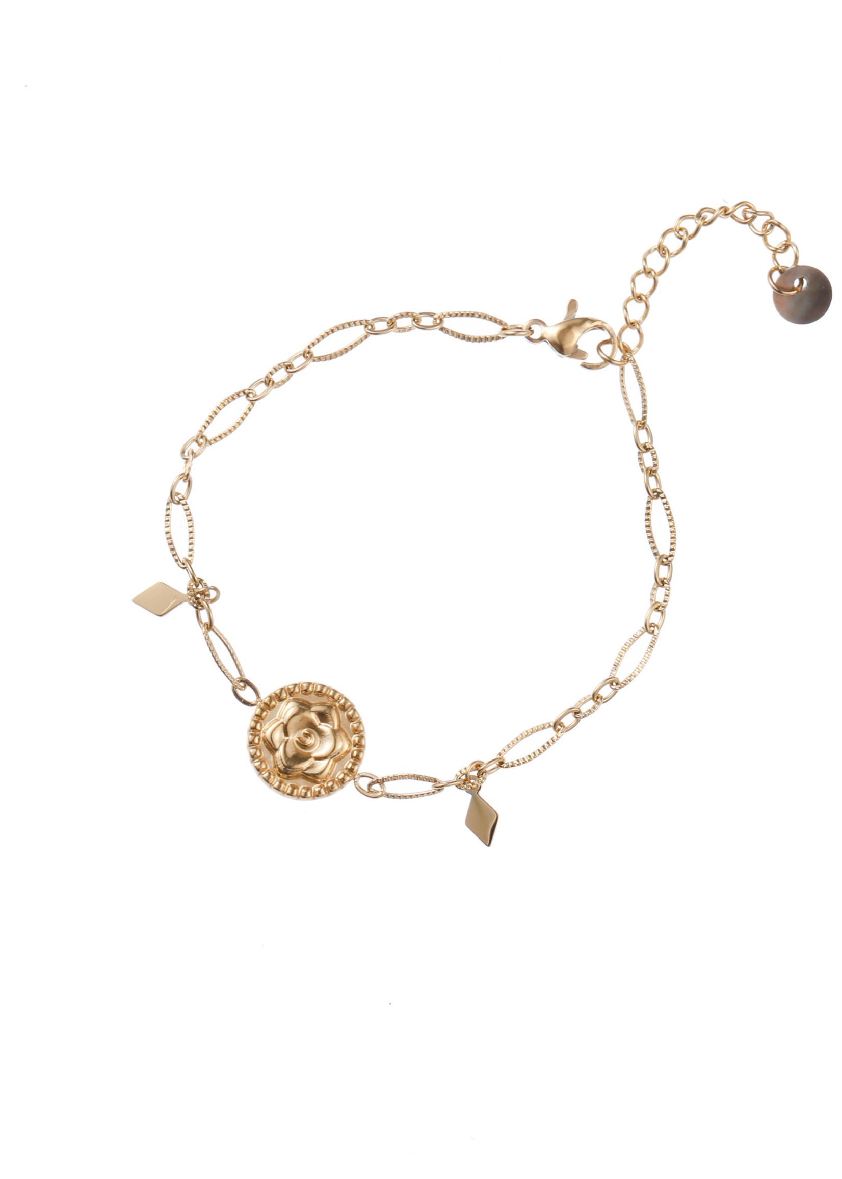 Armband goud bloem B1739-2
