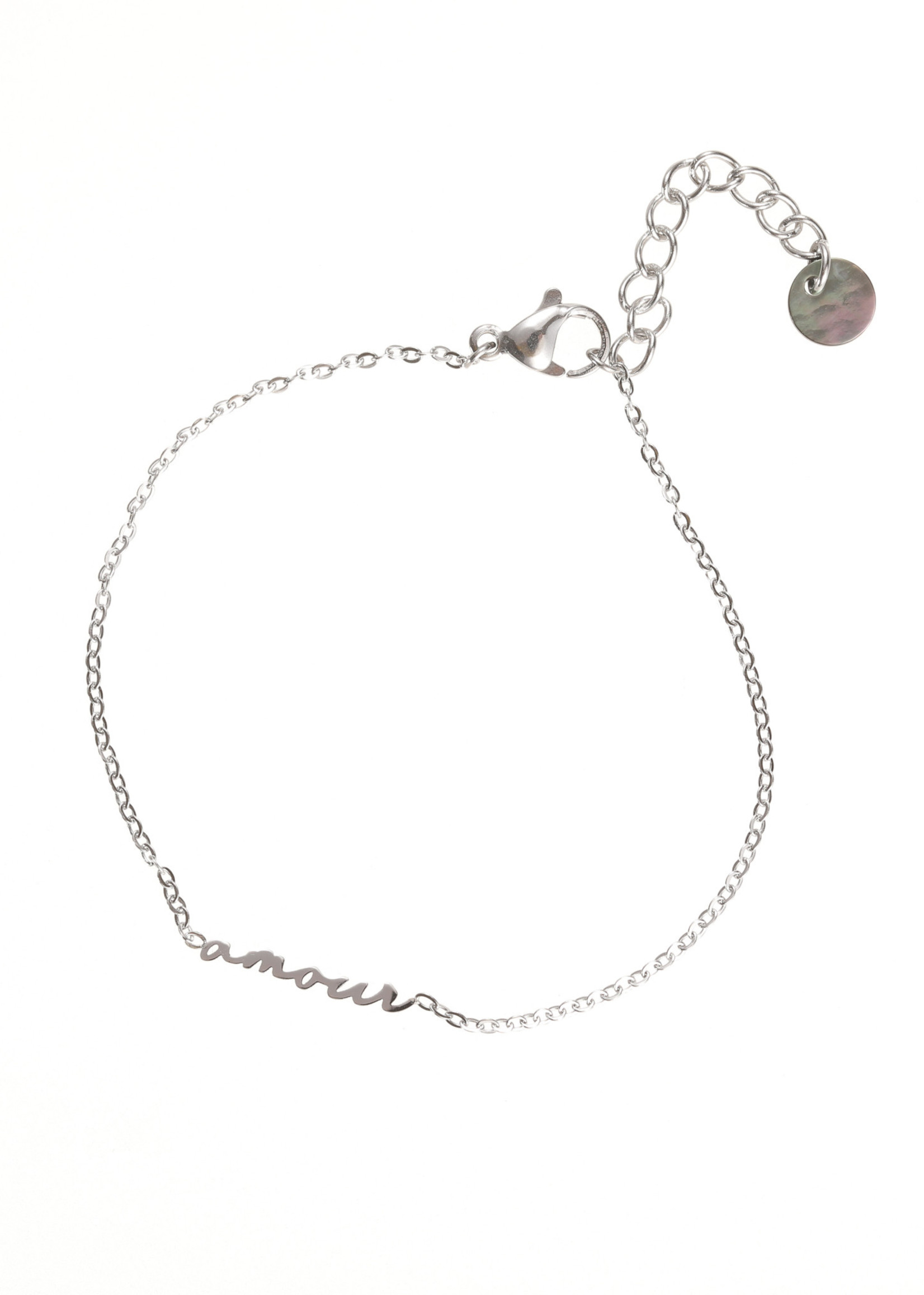 Armband zilver Amour geschreven letters B1734-1