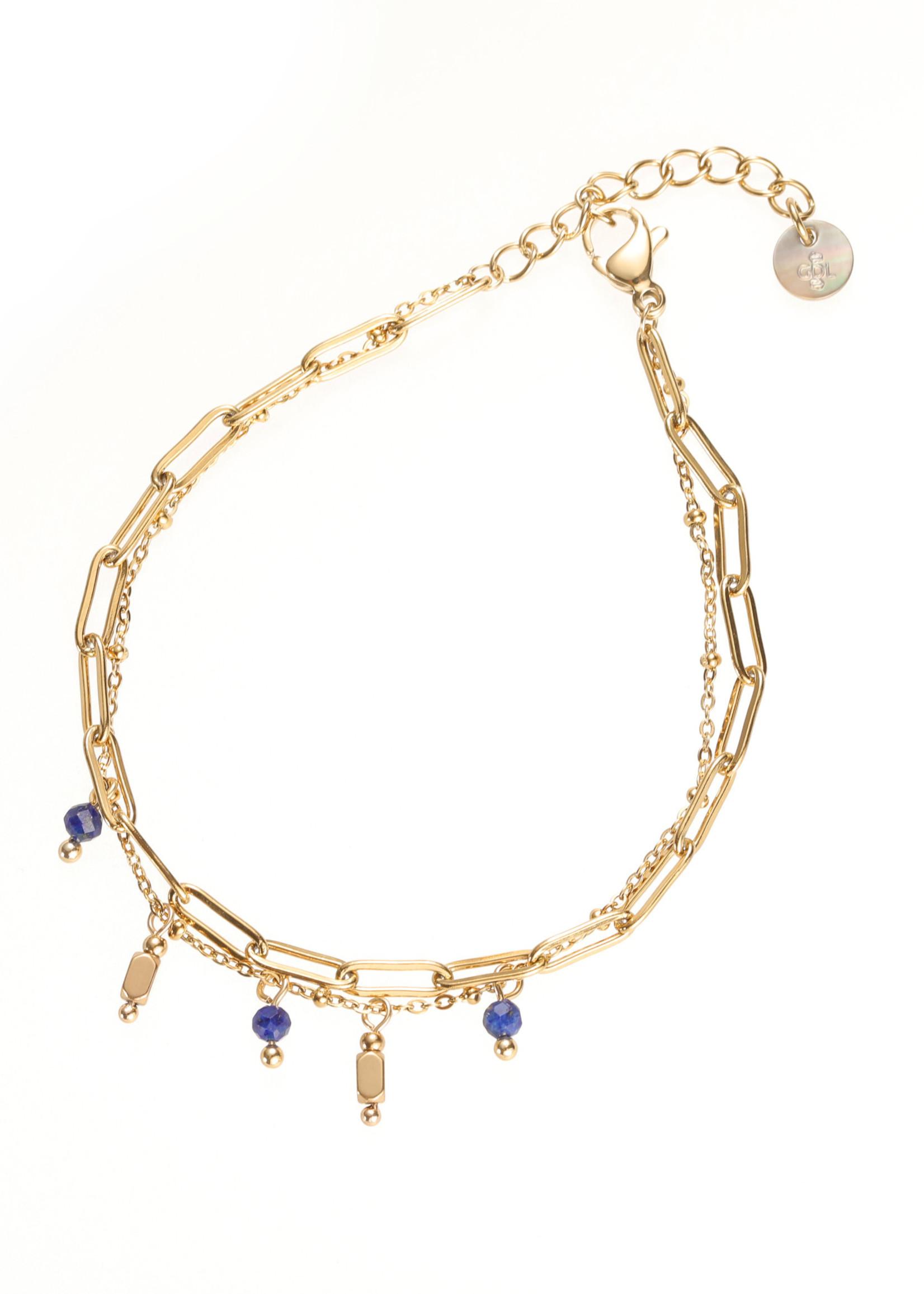 Armband goud dubbel met blauwe steentjes B1764-3