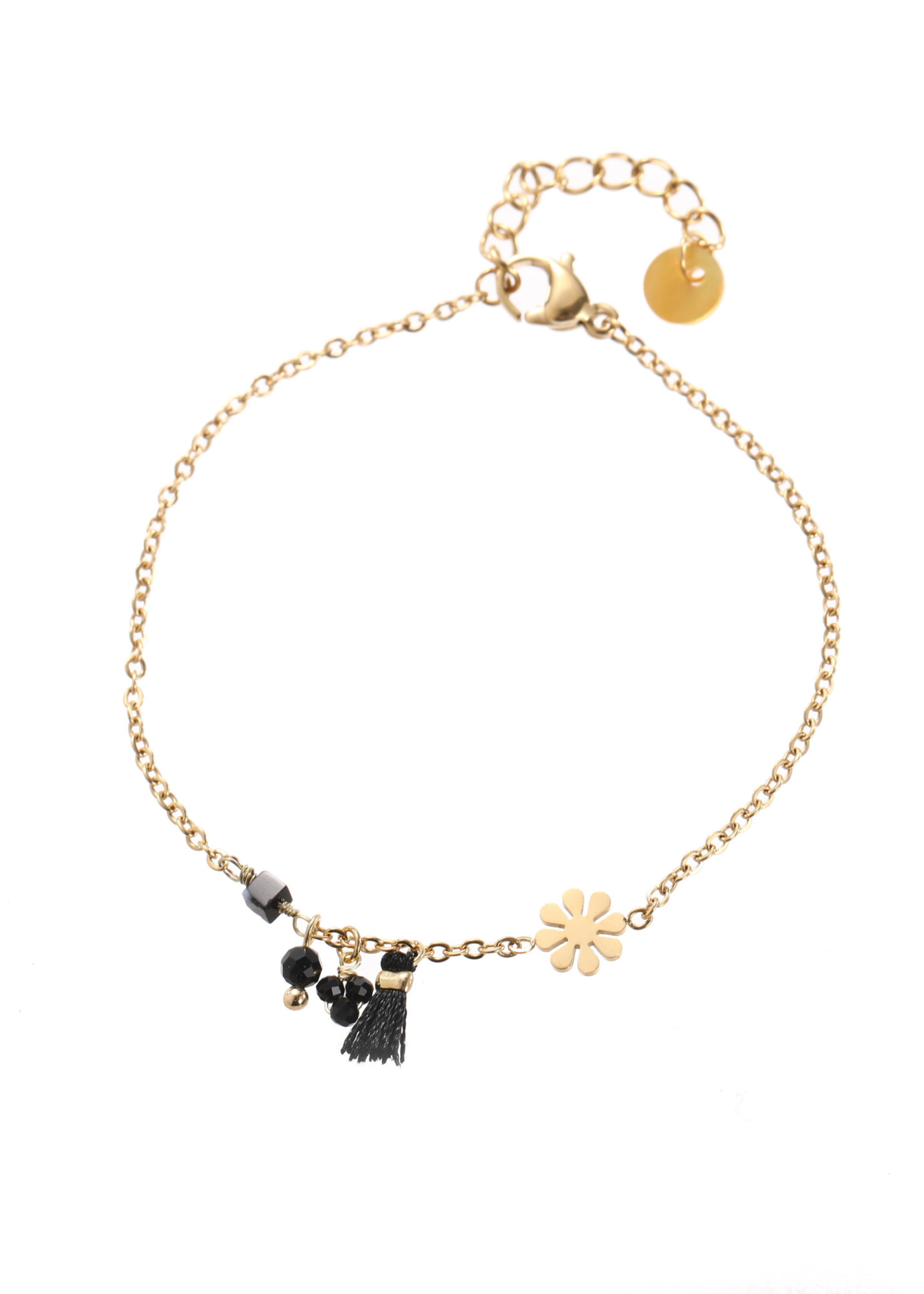 Armband goud met zwarte hangertjes B1765-6