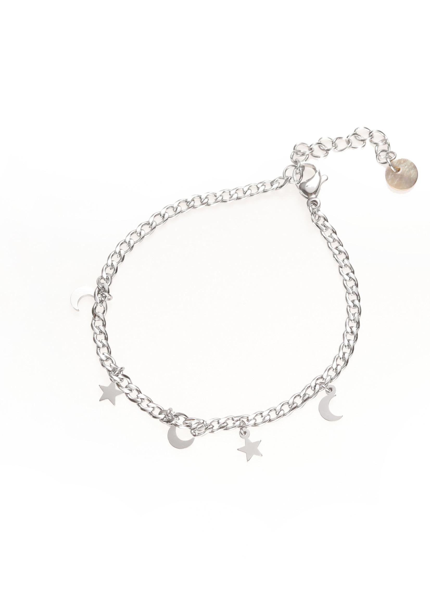 Armband zilver sterretjes en maantjes B1773-1