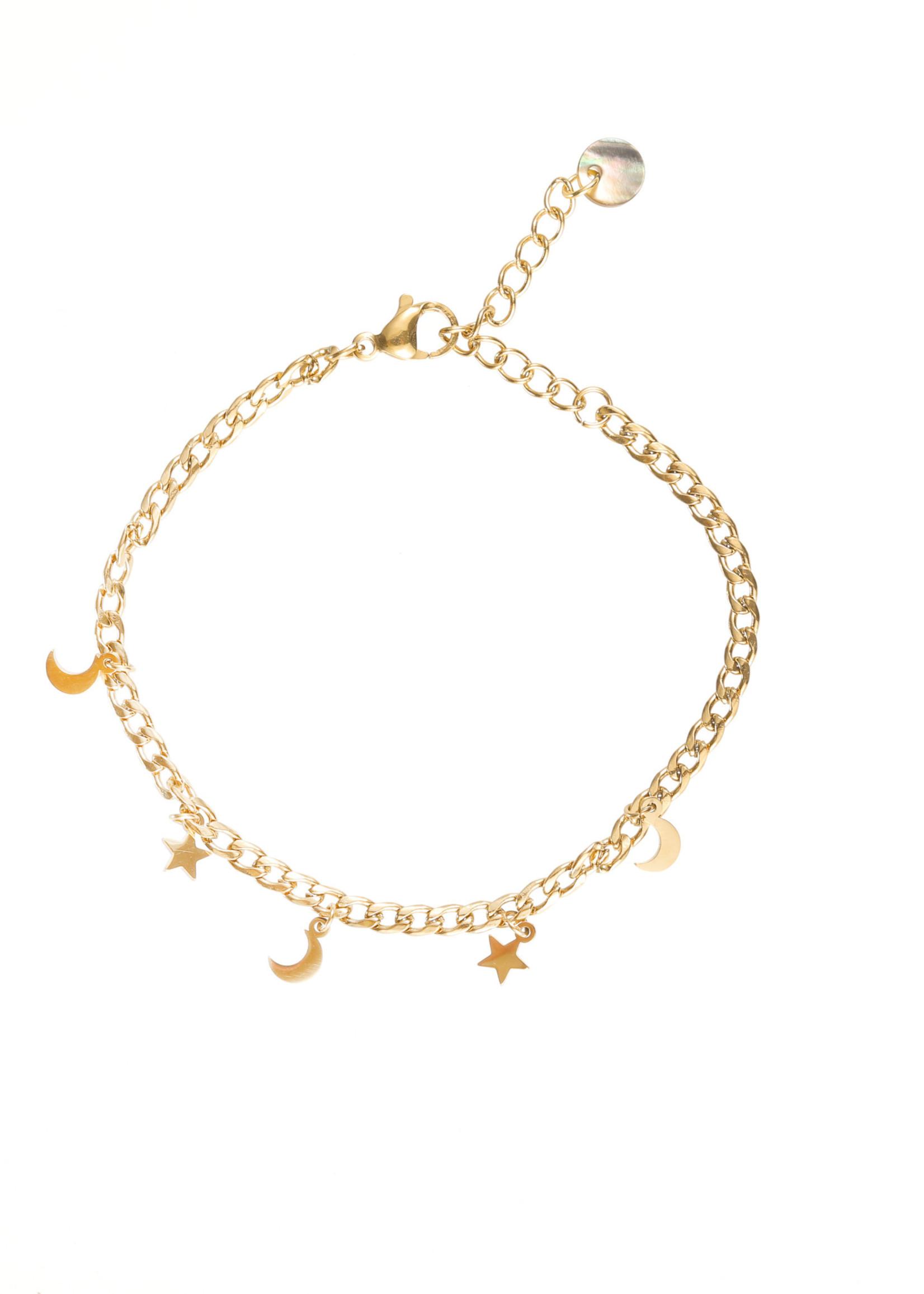 Armband goud sterretjes en maantjes B1773-2