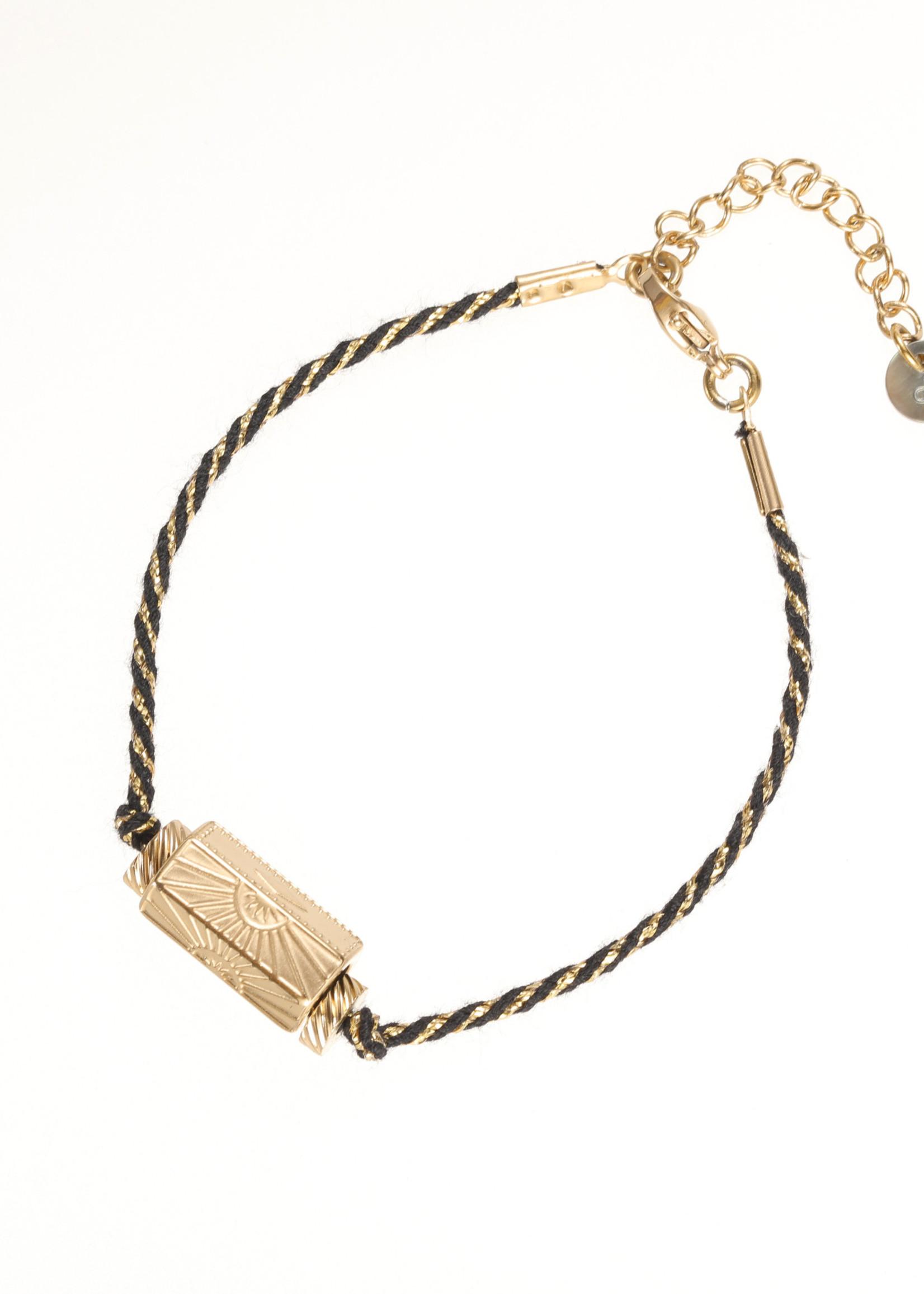 Armband goud/ zwart zon B1835-2