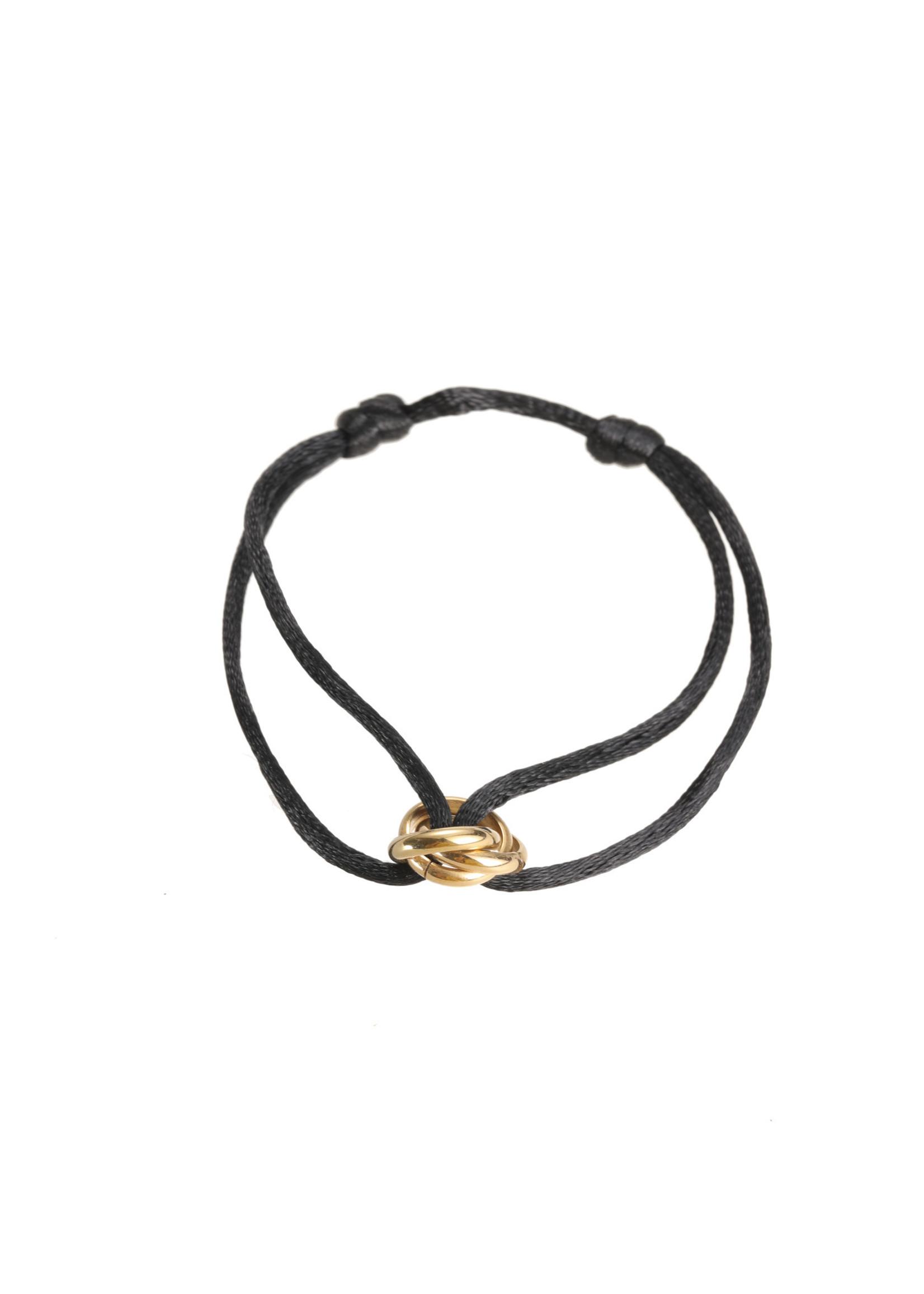 Armband goud/ zwart B1849-2