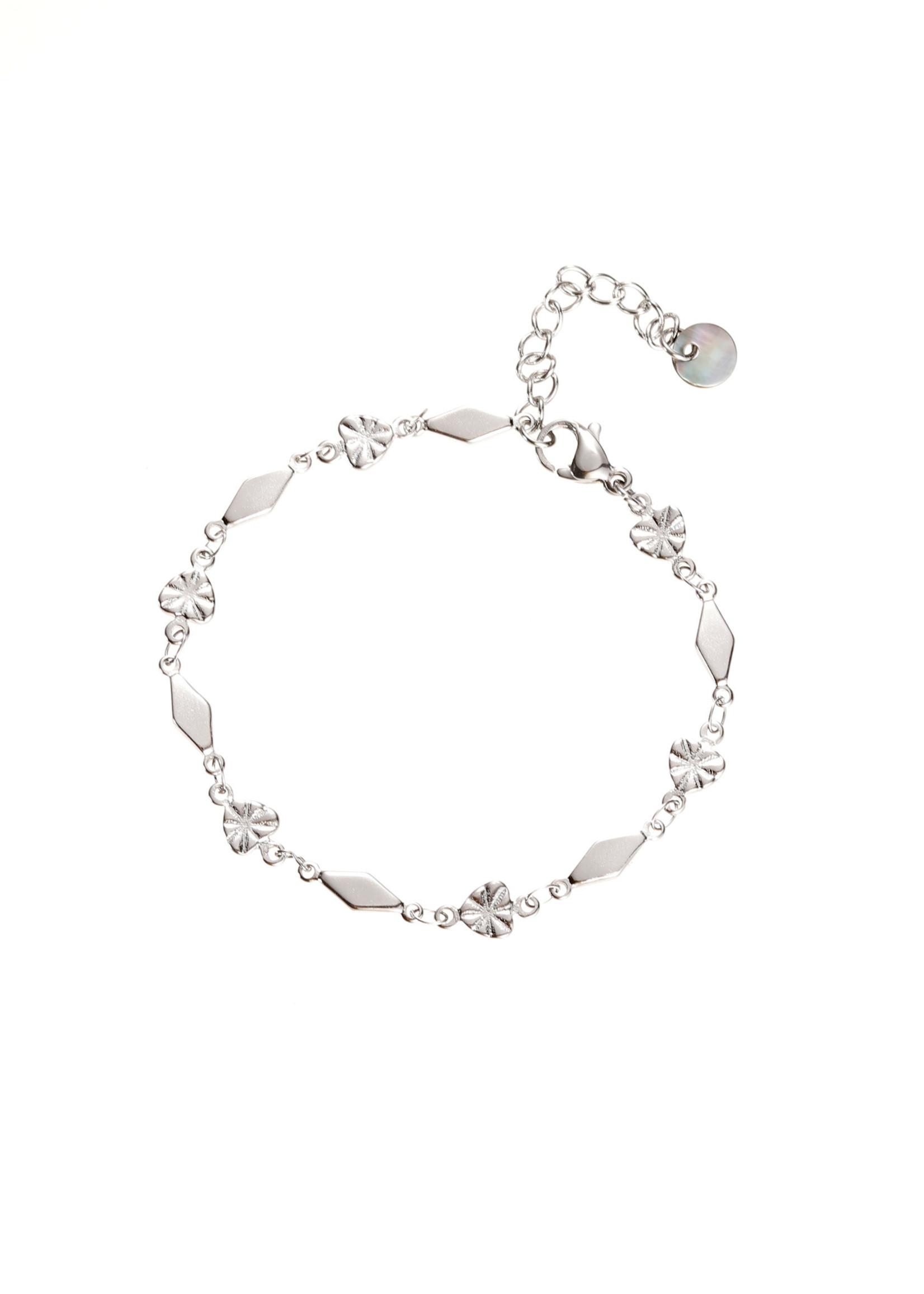 Armband zilver hartjes en ruitjes B1862-1