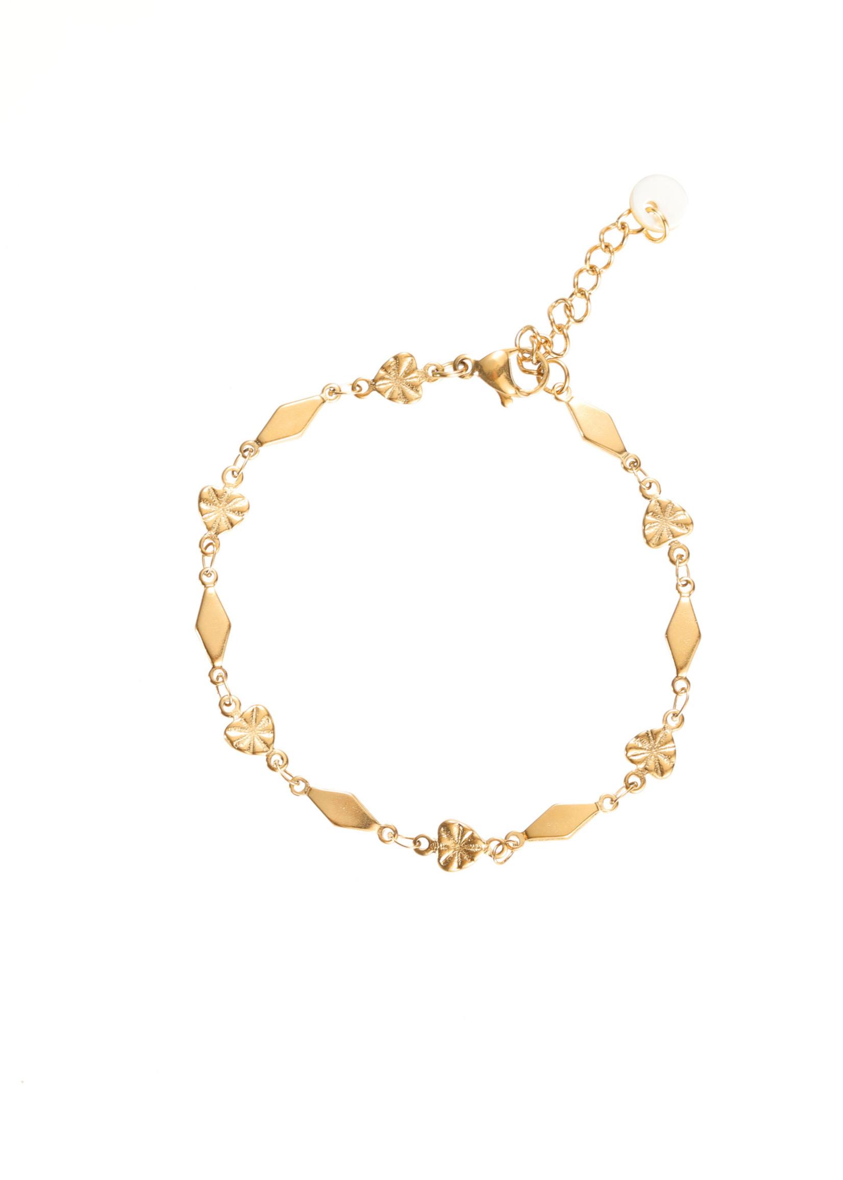 Armband goud met hartjes en ruitjes B1862-2