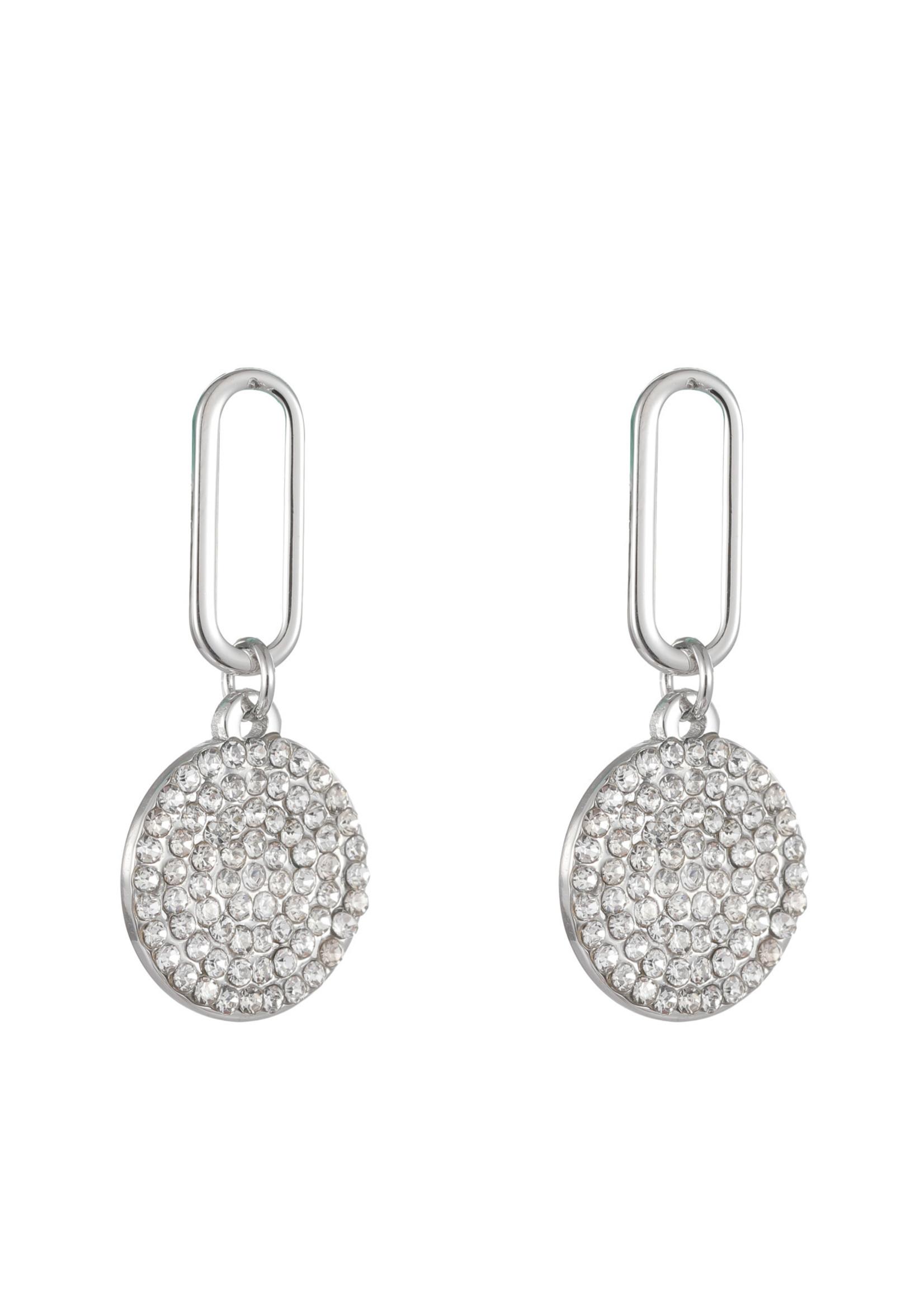 Oorbel zilver hanger met crystal steentjes E1700-1