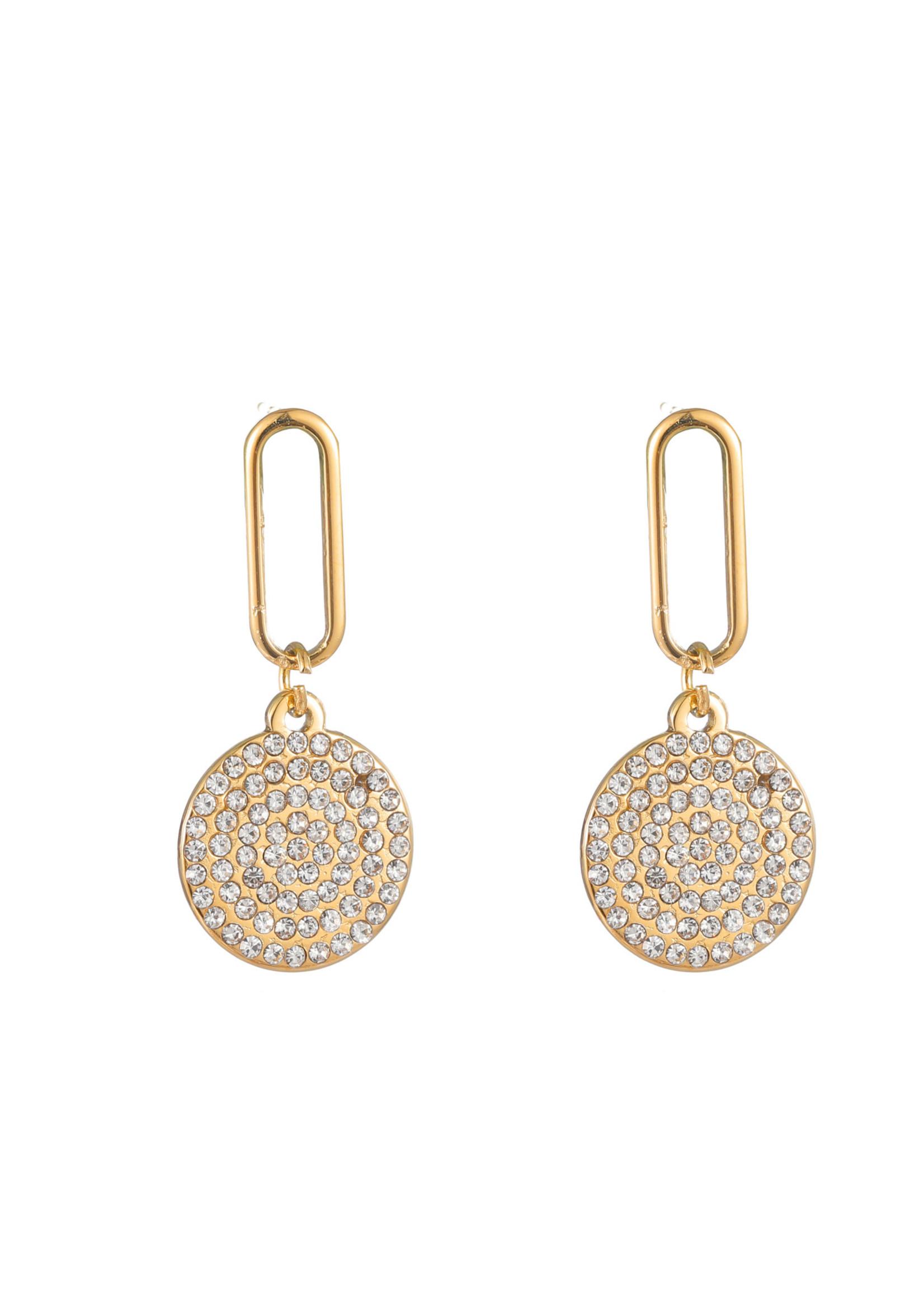 Oorbel goud hanger met crystal steentjes E1700-2